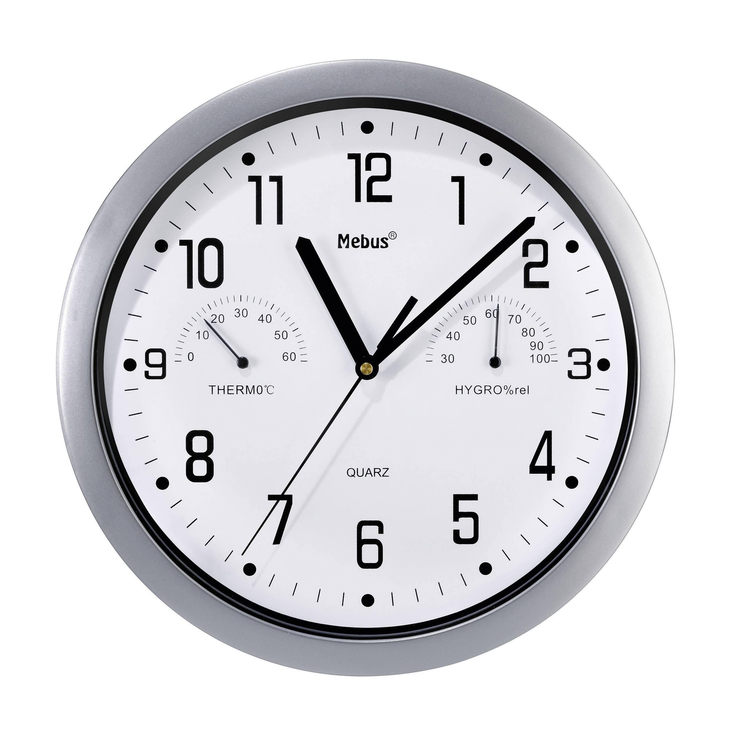 Analógové nástenné hodiny s teplomerom a vlhkomerom, 25 cm