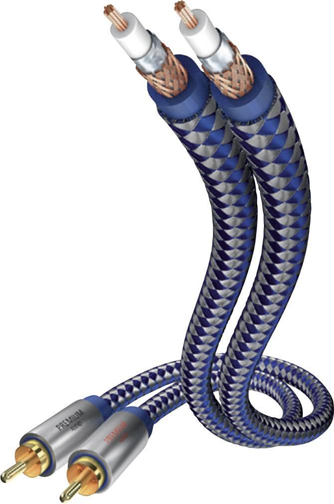 Cinch audio prepojovací kábel Inakustik 00404007, 0.75 m, modrá, strieborná