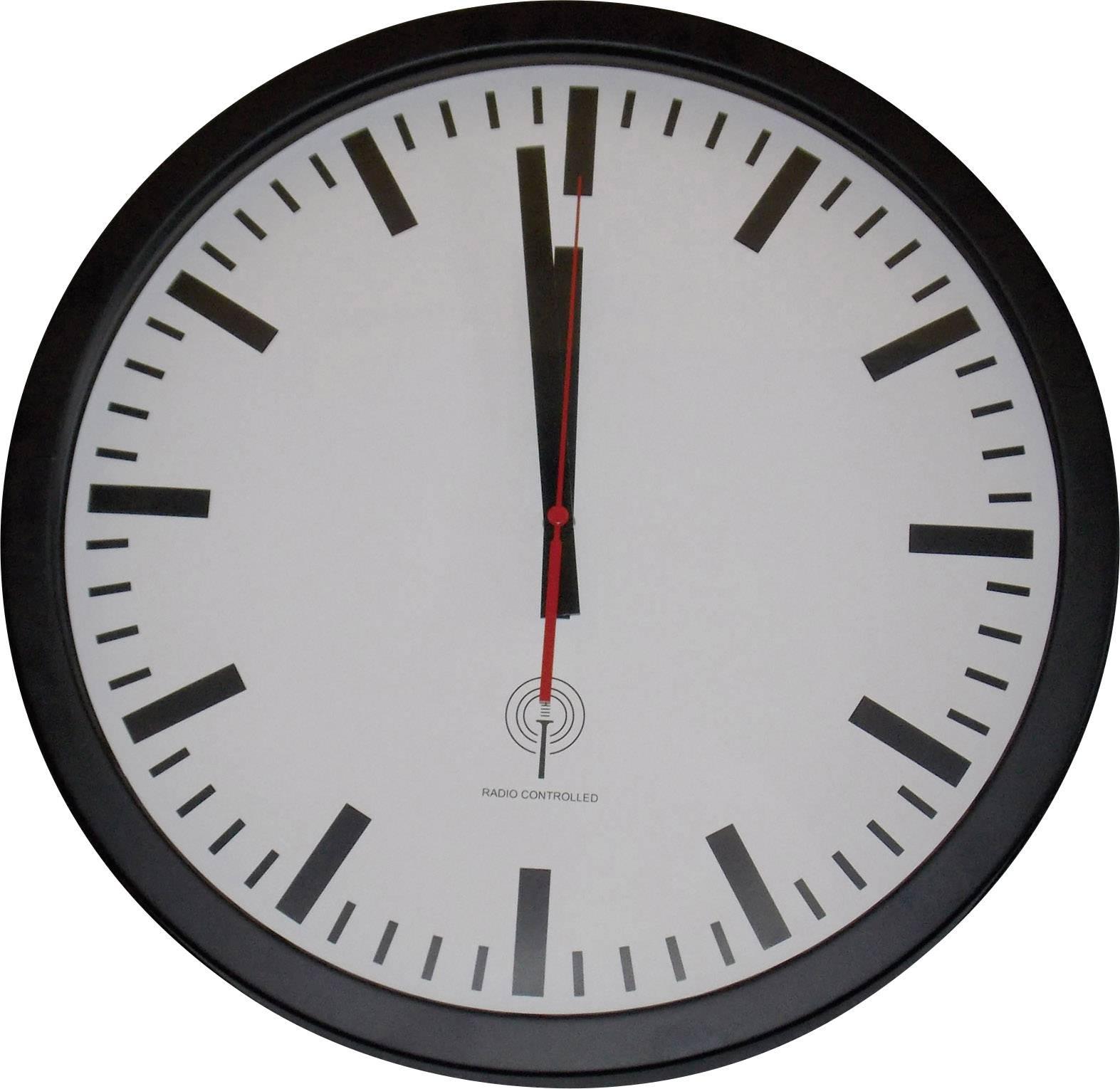 Železničné nástenné DCF hodiny Ø 40 cm, čierne