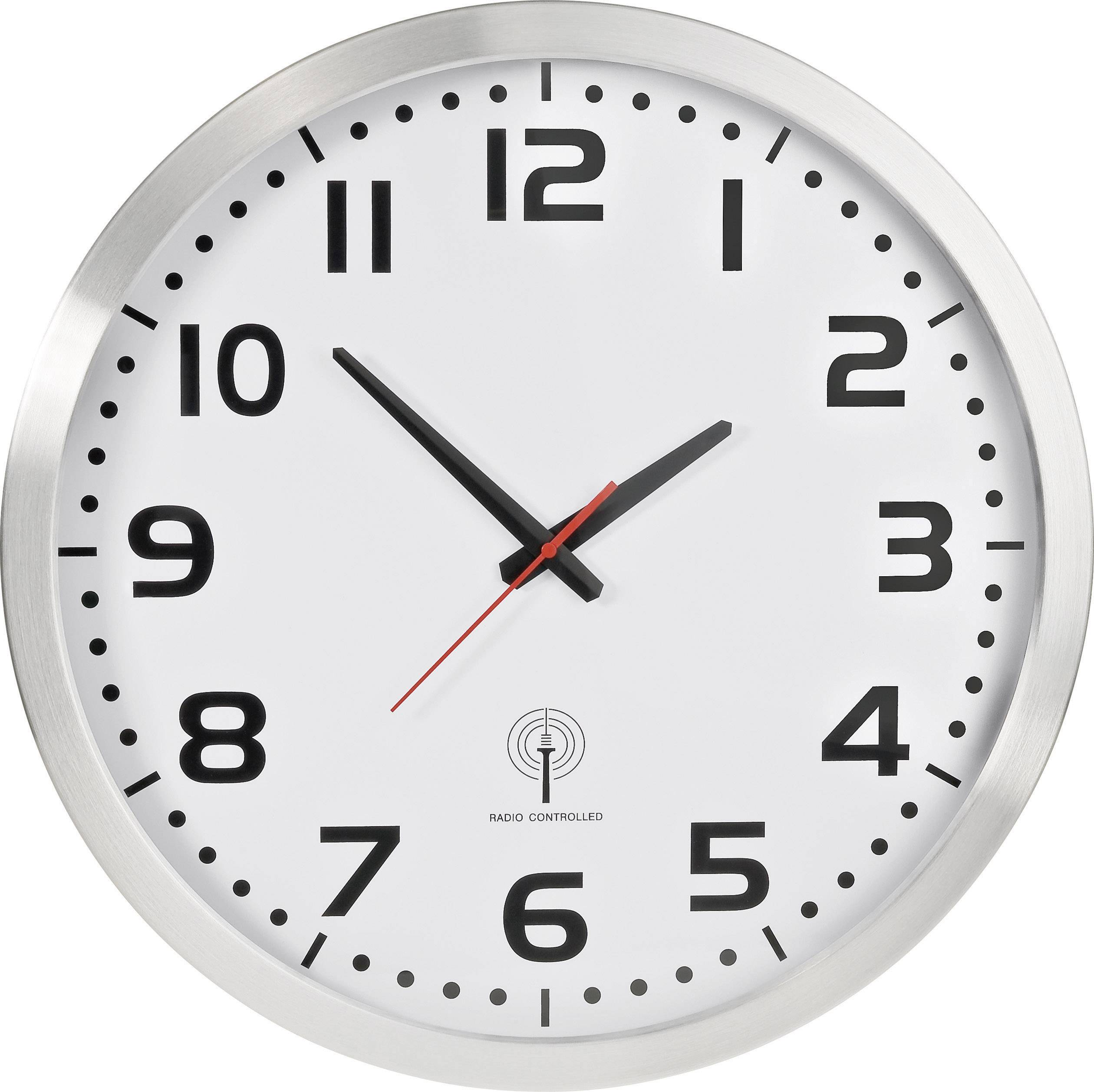 Analógové nástenné DCF hodiny, 50 cm, hliník