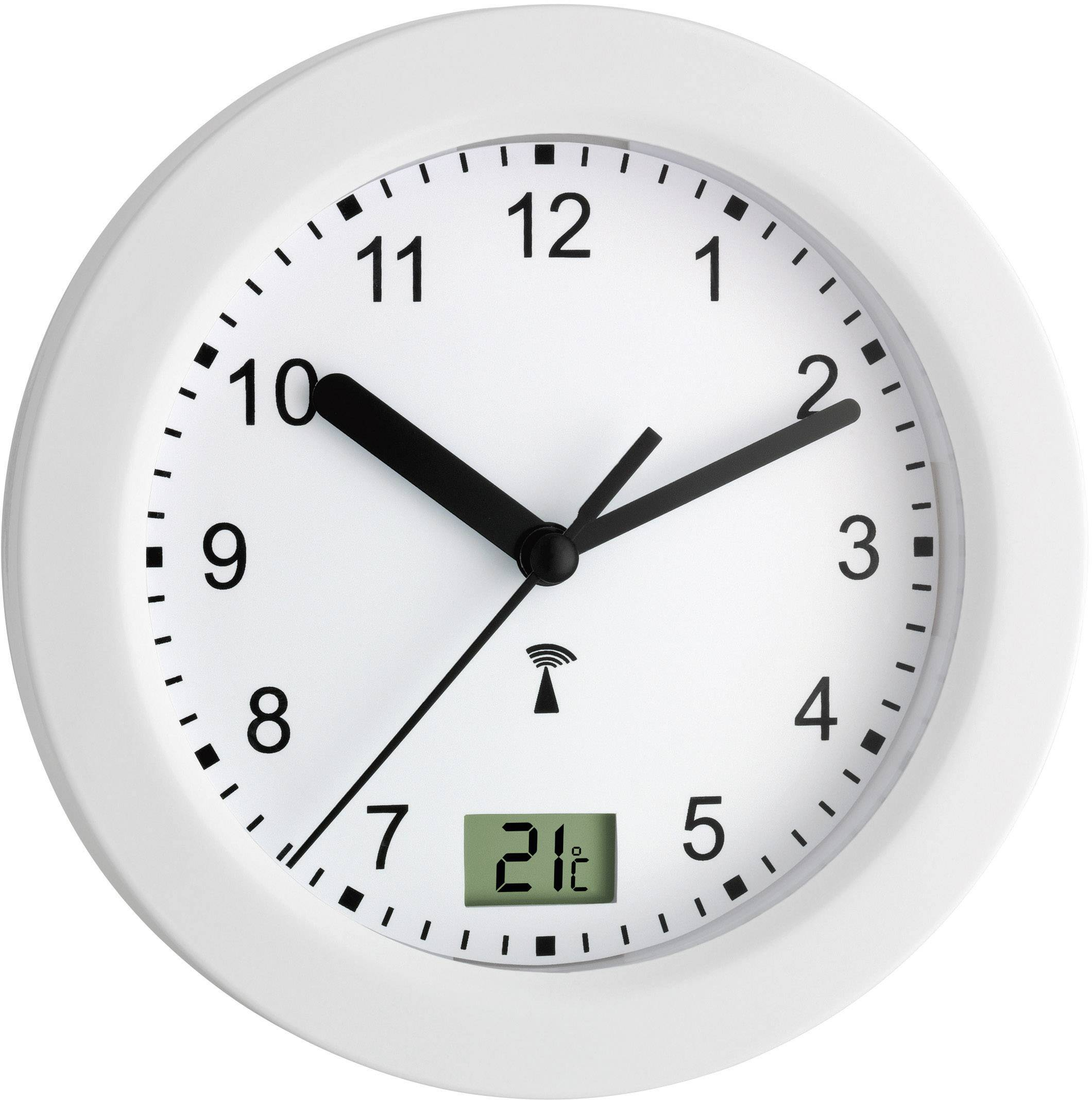 Analógové nástenné DCF hodiny do kúpeľne, Ø 17.5 cm, biele