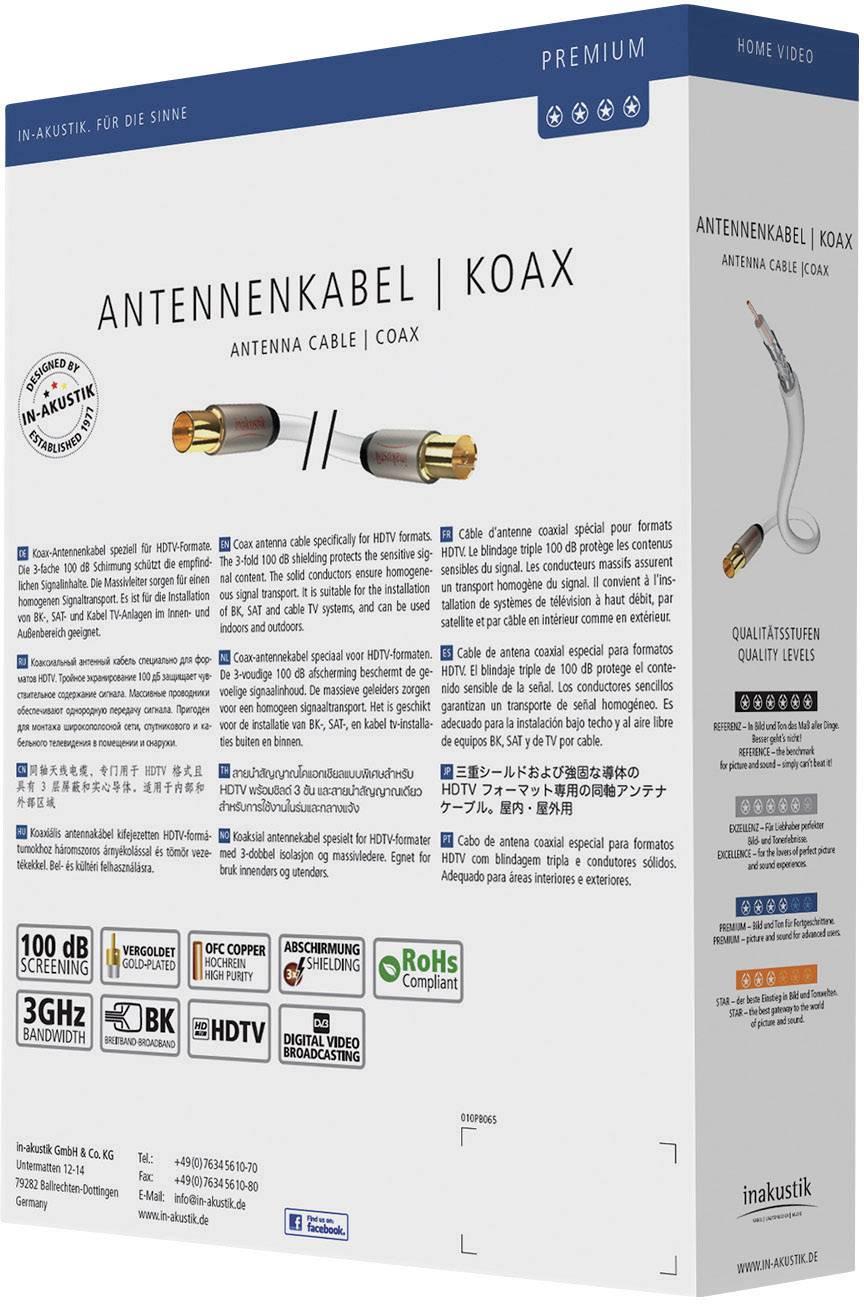 Anténny kábel Inakustik 004261075, 100 dB, pozlátené kontakty, 7.50 m, biela