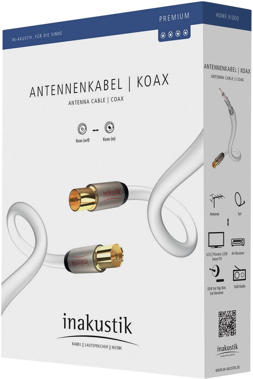 Anténny kábel Inakustik 00426105, 100 dB, pozlátené kontakty, 5 m, biela