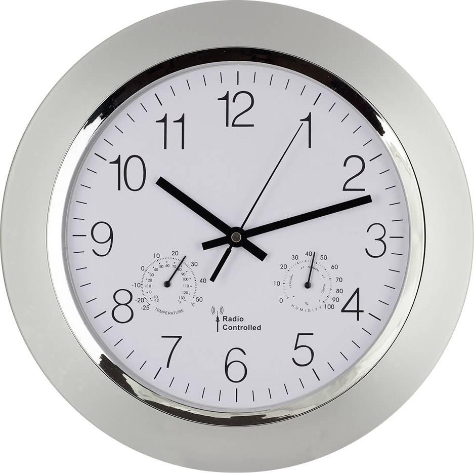 Analogové DCF nástěnné hodiny s teploměrem/vlhkoměrem, 56004, Ø 34 x 5 cm