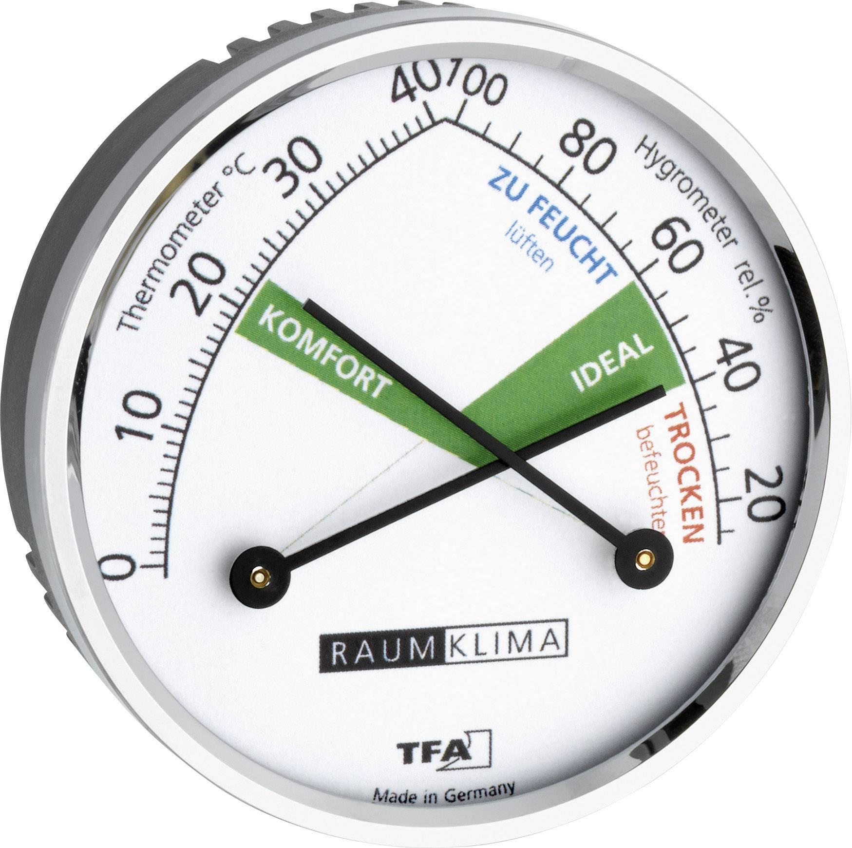 Teploměr a vlhkoměr TFA 45.2024, mosaz, stříbrná