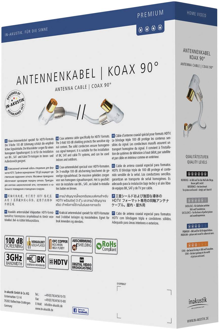 Anténny kábel Inakustik 004263075, [1x anténna zástrčka 75 Ω - 1x anténna zásuvka 75 Ω], 100 dB, pozlátené kontakty, 7.50 m, biela