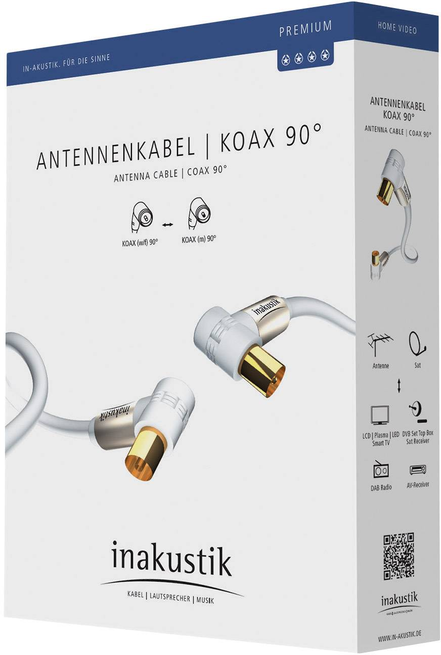 Anténny prepojovací kábel Inakustik 004263015, 100 dB, pozlátené kontakty, 1.50 m, biela