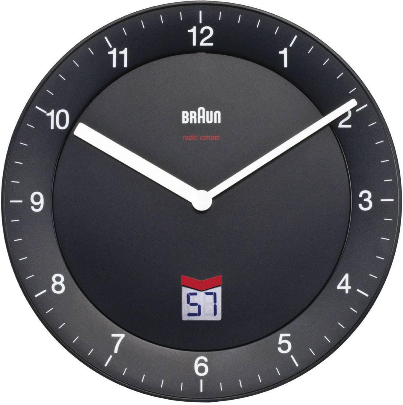 Analógové nástenné DCF hodiny Braun, 20 cm, čierne