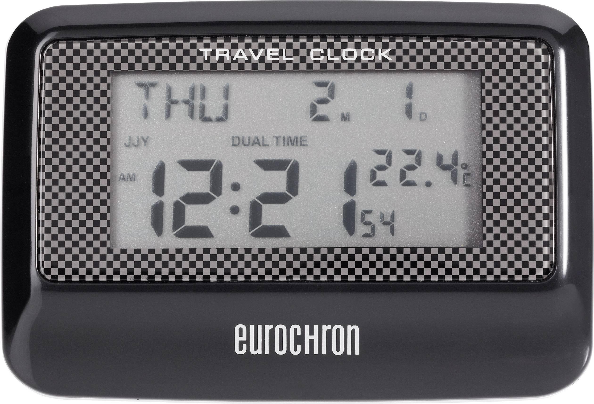 Cestovní DCF budík Eurochron Multiband EFW 200 T, C8263A, 88 x 60 x 20 mm, černá