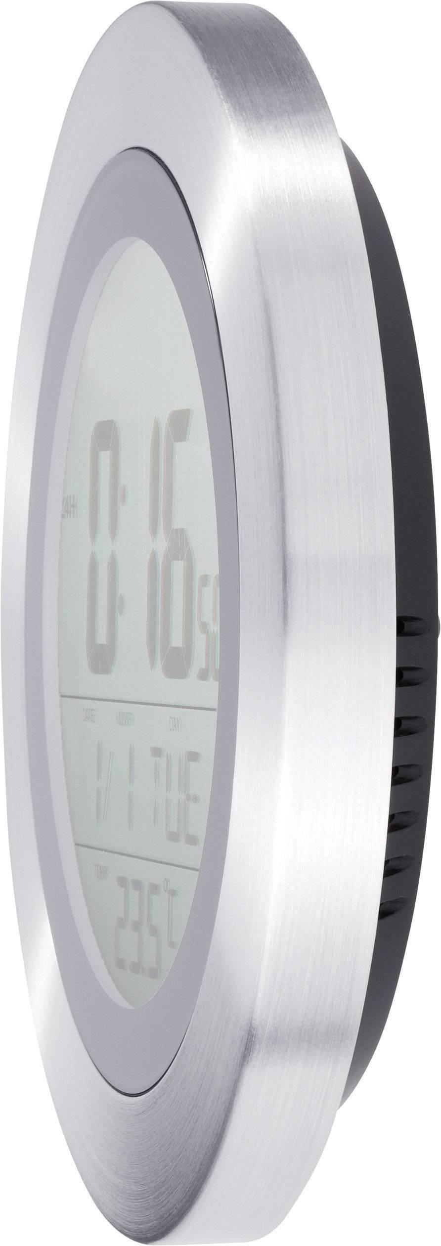 DCF digitálne nástenné hodiny s teplomerom KW 9092, strieborná, čierna