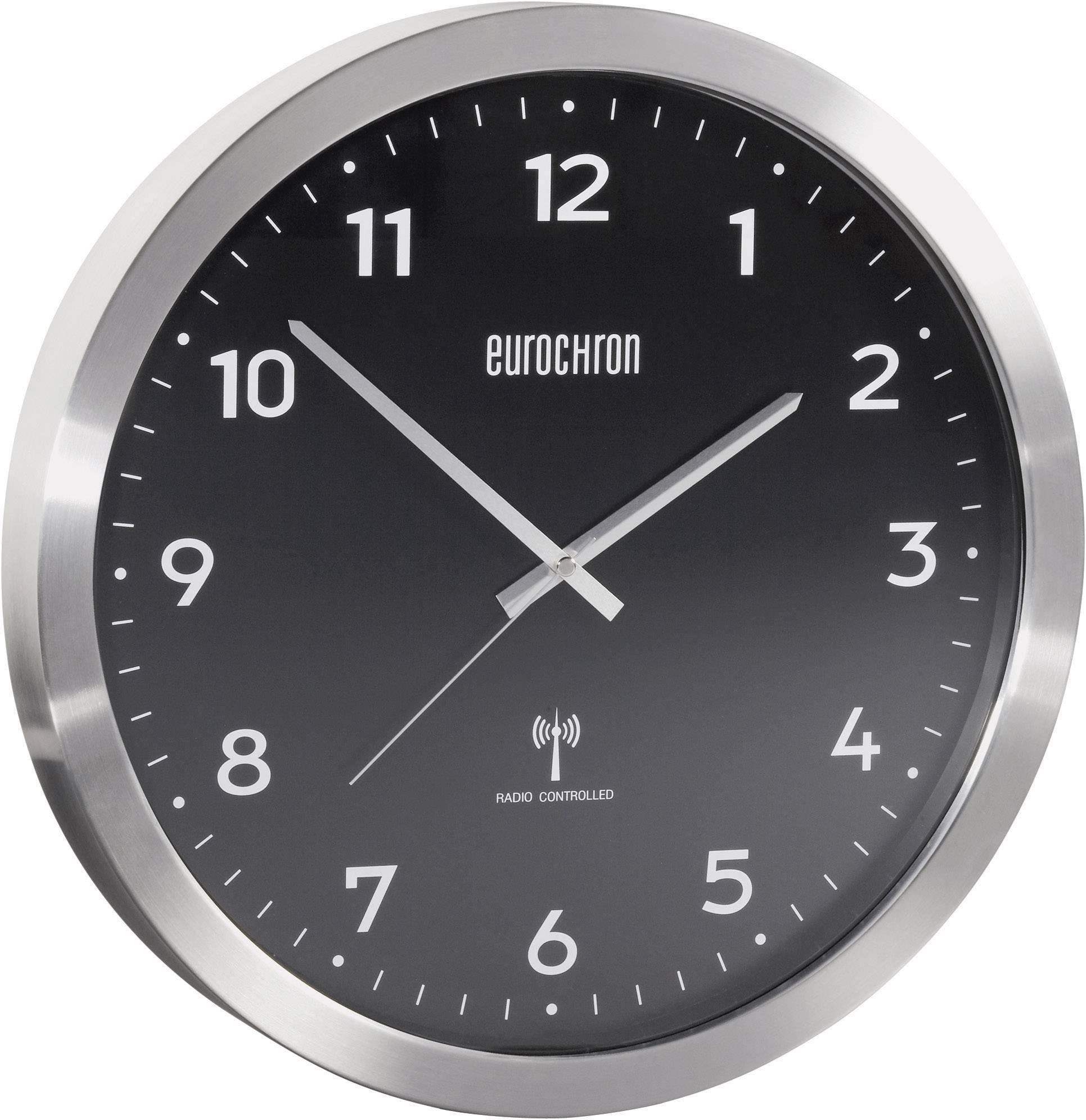 Hliníkové nástenné DCF hodiny Eurochron EFWU 2601, 38 cm, čierne
