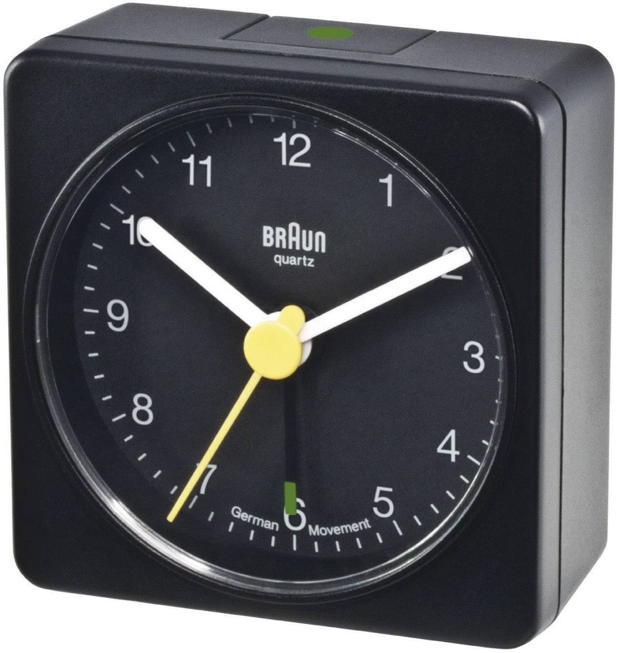 Analogový budík Braun, 66000, 56 x 56 x 31 mm, černá