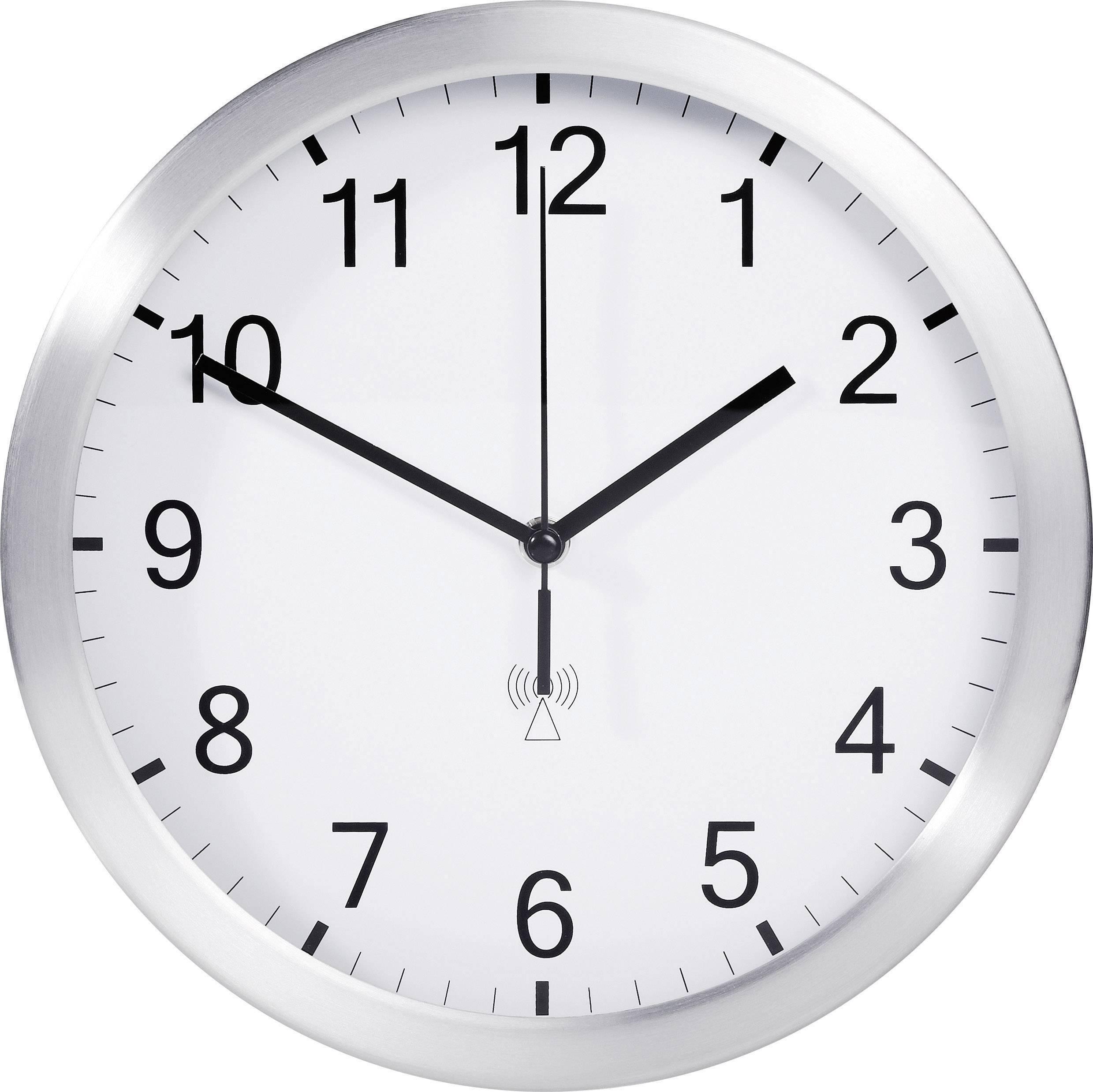Analógové nástenné DCF hodiny TFA 25 cm, hliník