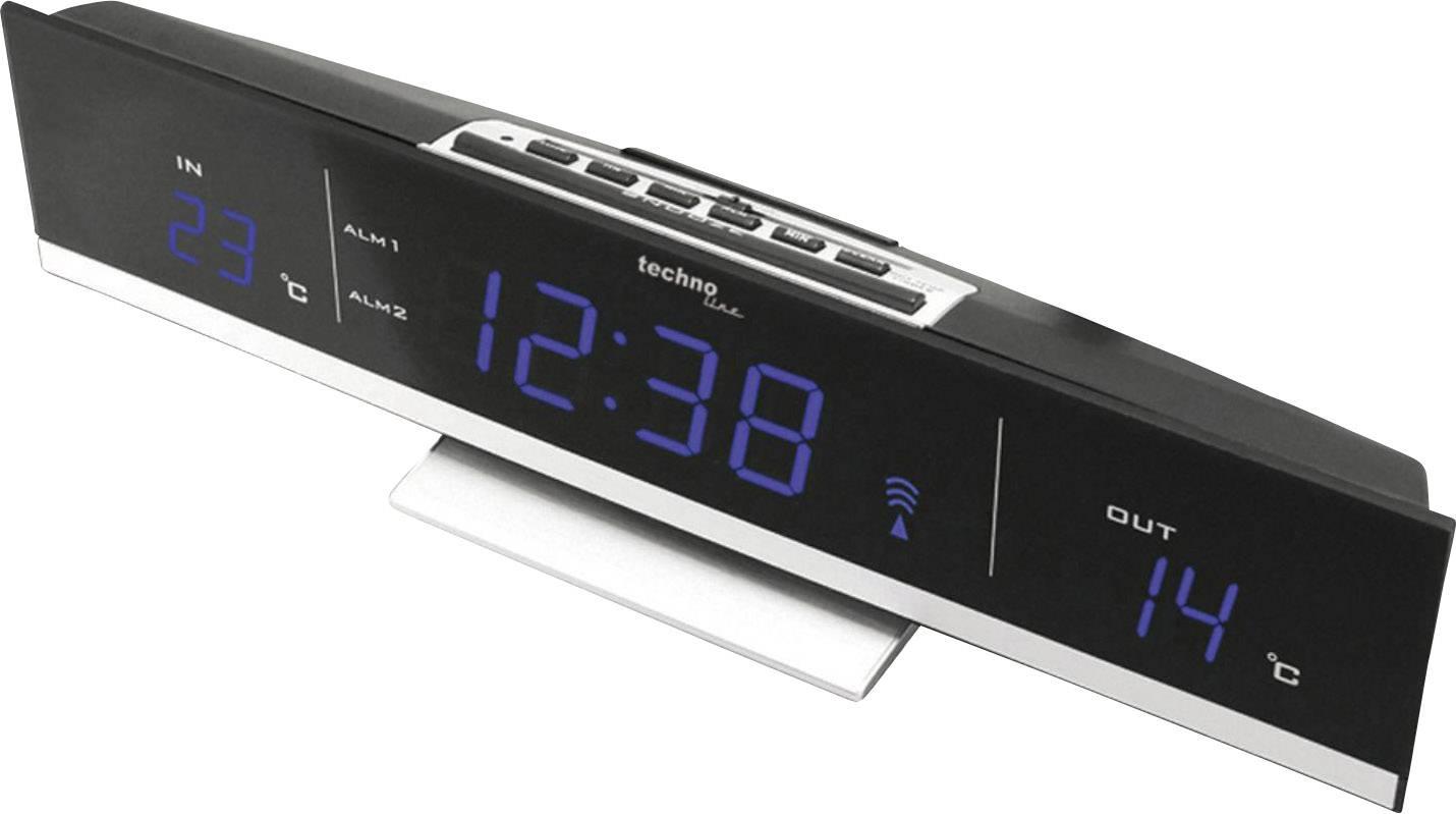 Bezdrátové hodiny s teploměrem Techno Line WS 6810, 285 x 70 x 55 mm, modrá