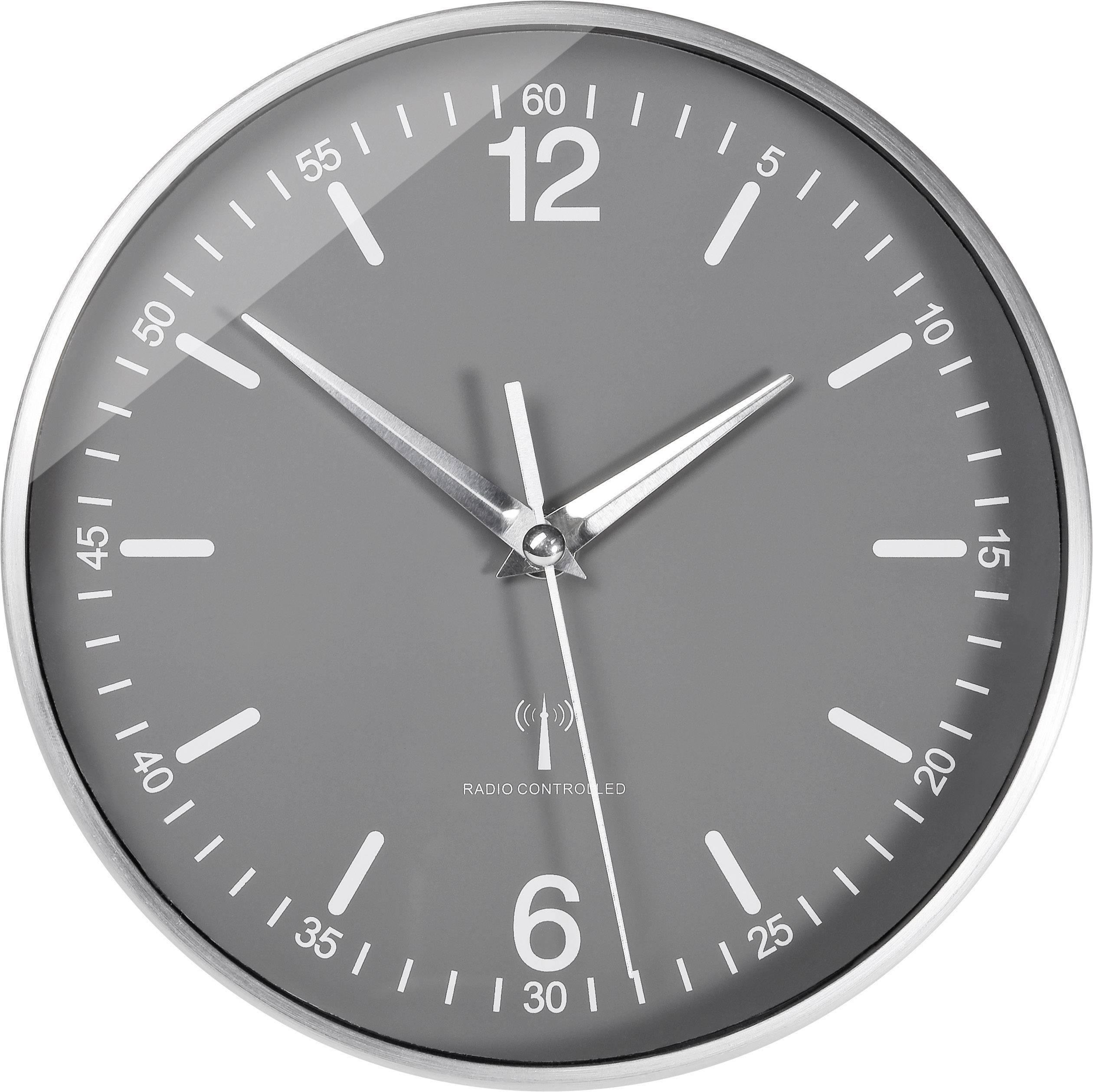 Analógové nástenné DCF hodiny Eurochron, 19.5 cm, hliník
