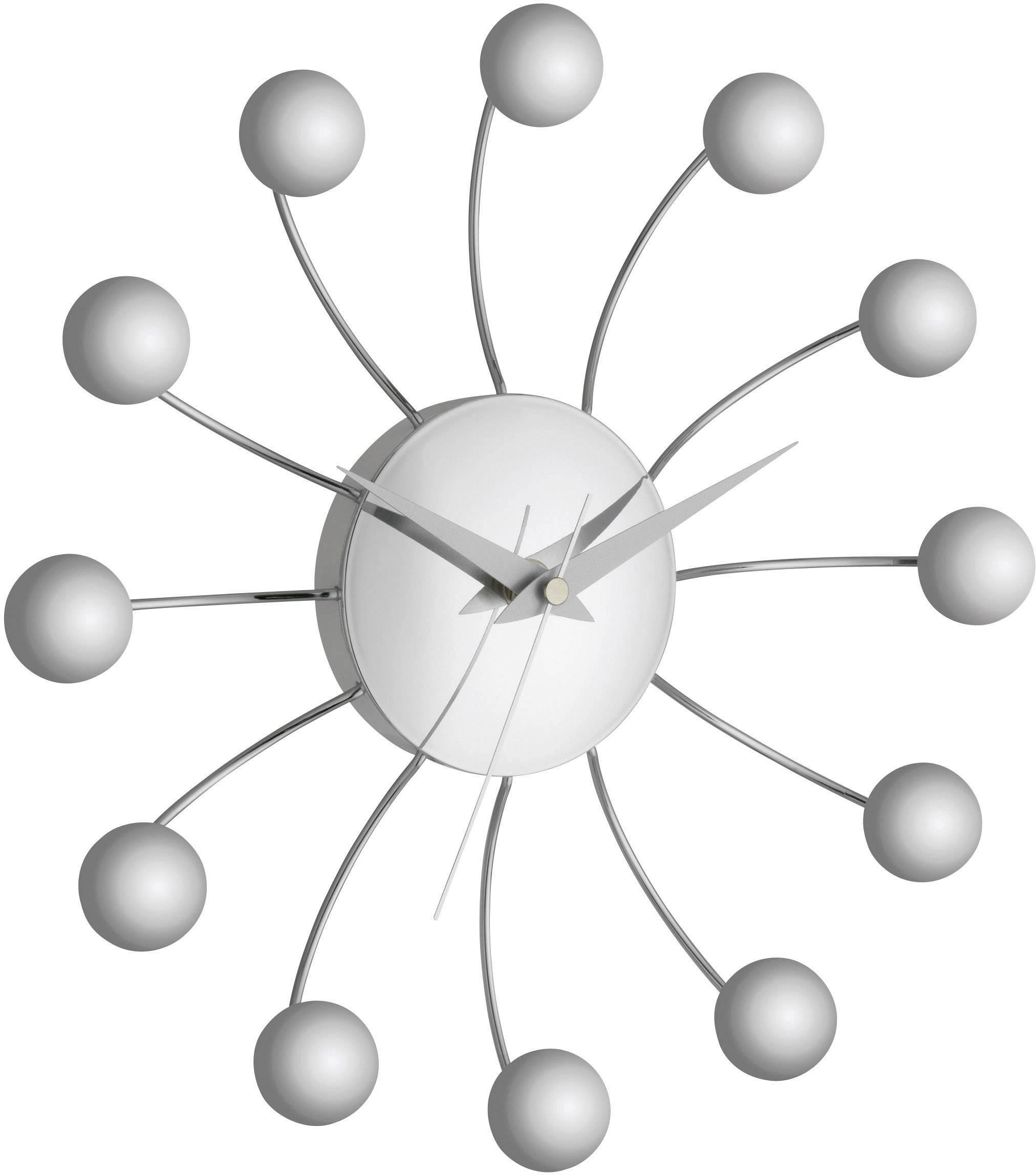 Analógové nástenné hodiny TFA Spider, 28.5 cm, strieborné