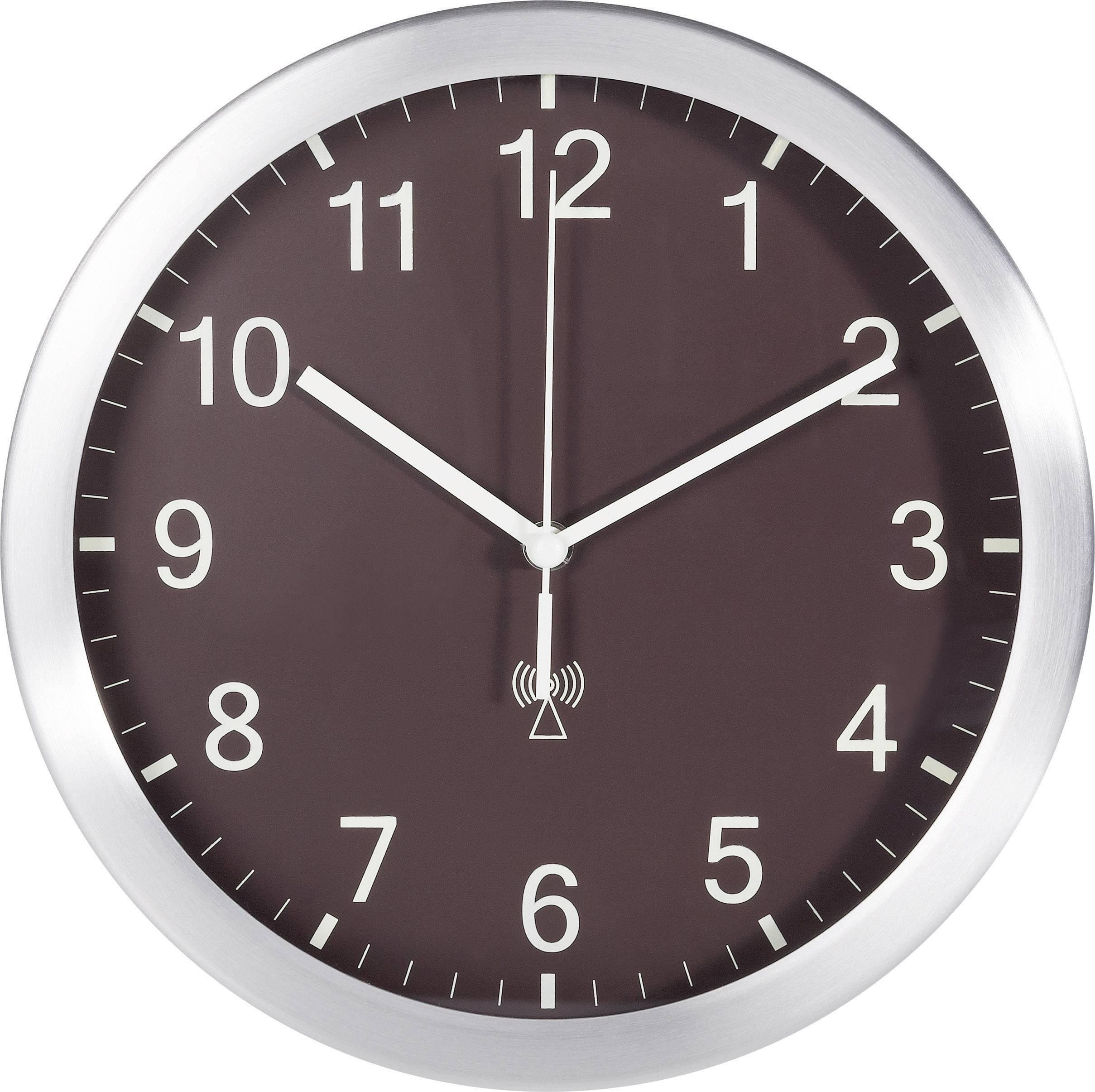 Analógové nástenné DCF hodiny TFA 25 cm, hnedé