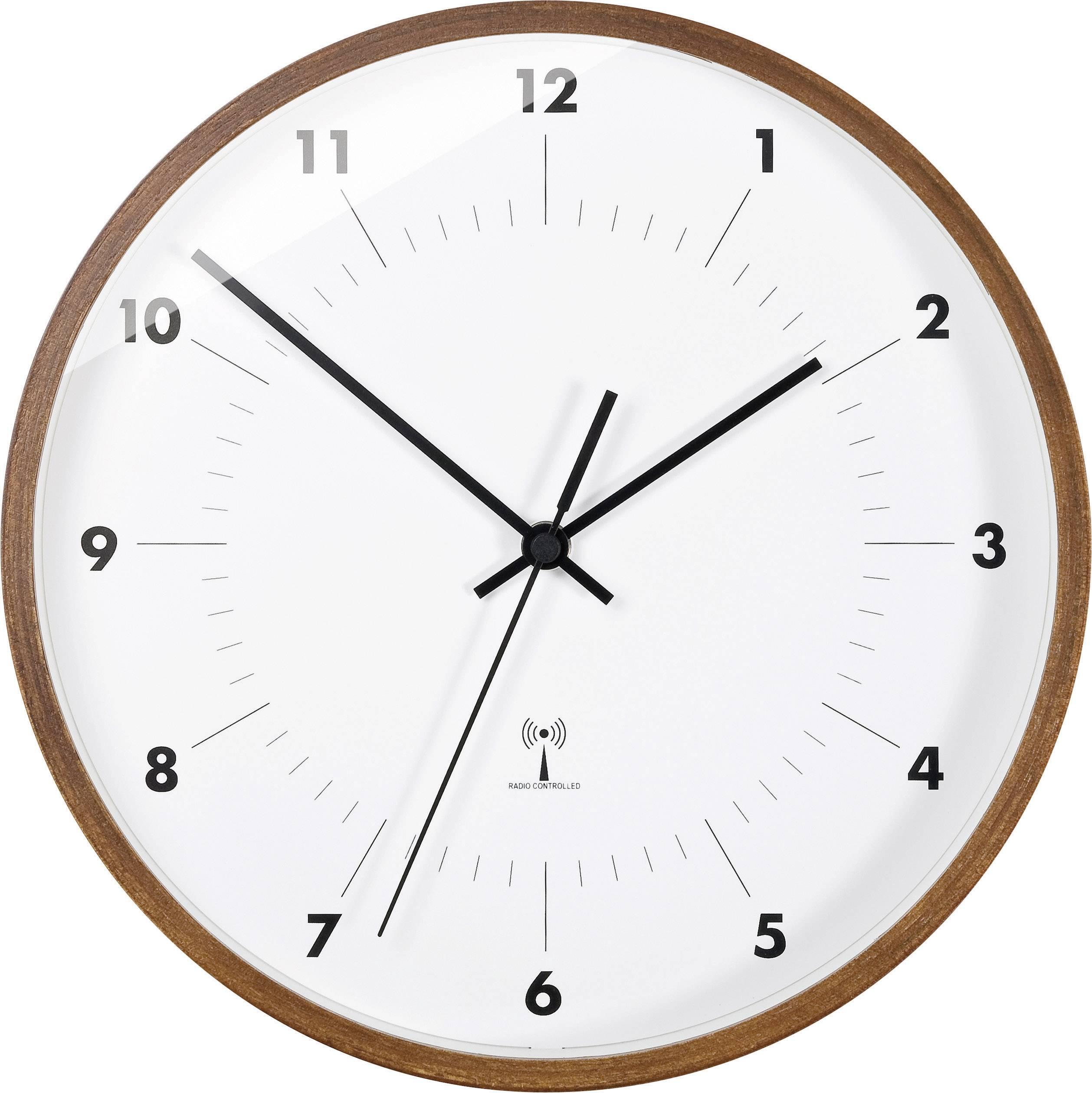 Analógové nástenné DCF hodiny TFA 98.1097 Ø 25,5 x 5 cm, drevo