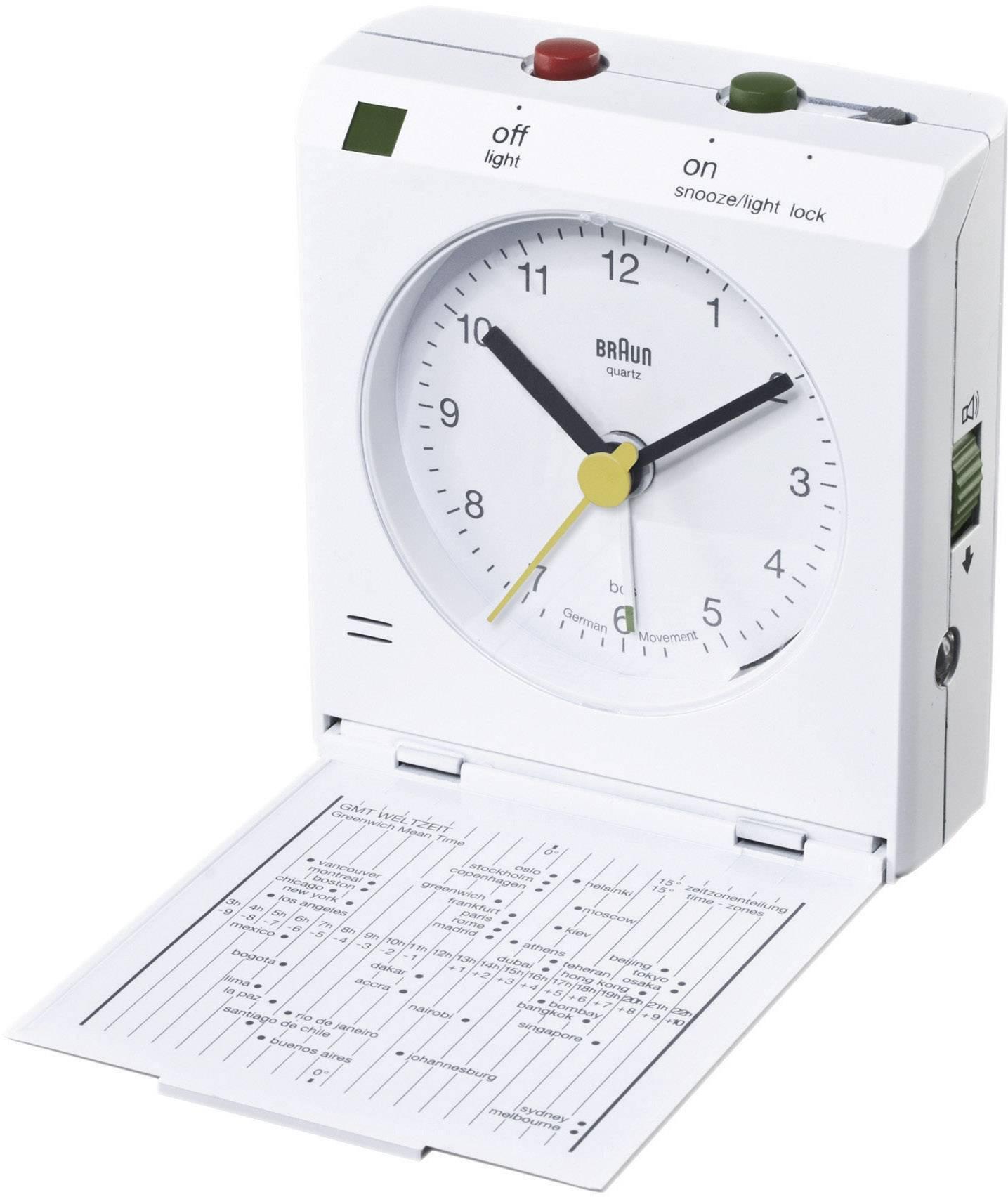 Analogový cestovní budík Braun Crescendo, 66024, 78 x 72 x 30 mm, bílá