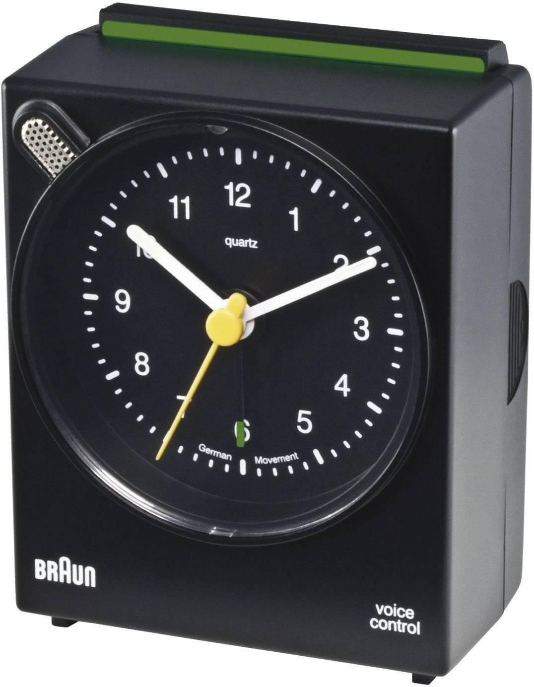 Analógový quarz budík Braun Voice Control, čierny