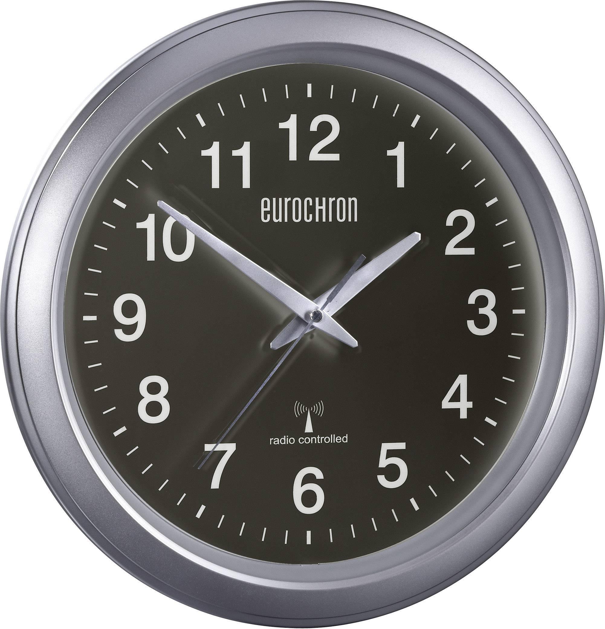 Analógové nástenné DCF hodiny Eurochron EFWU 4601, strieborná/čierna