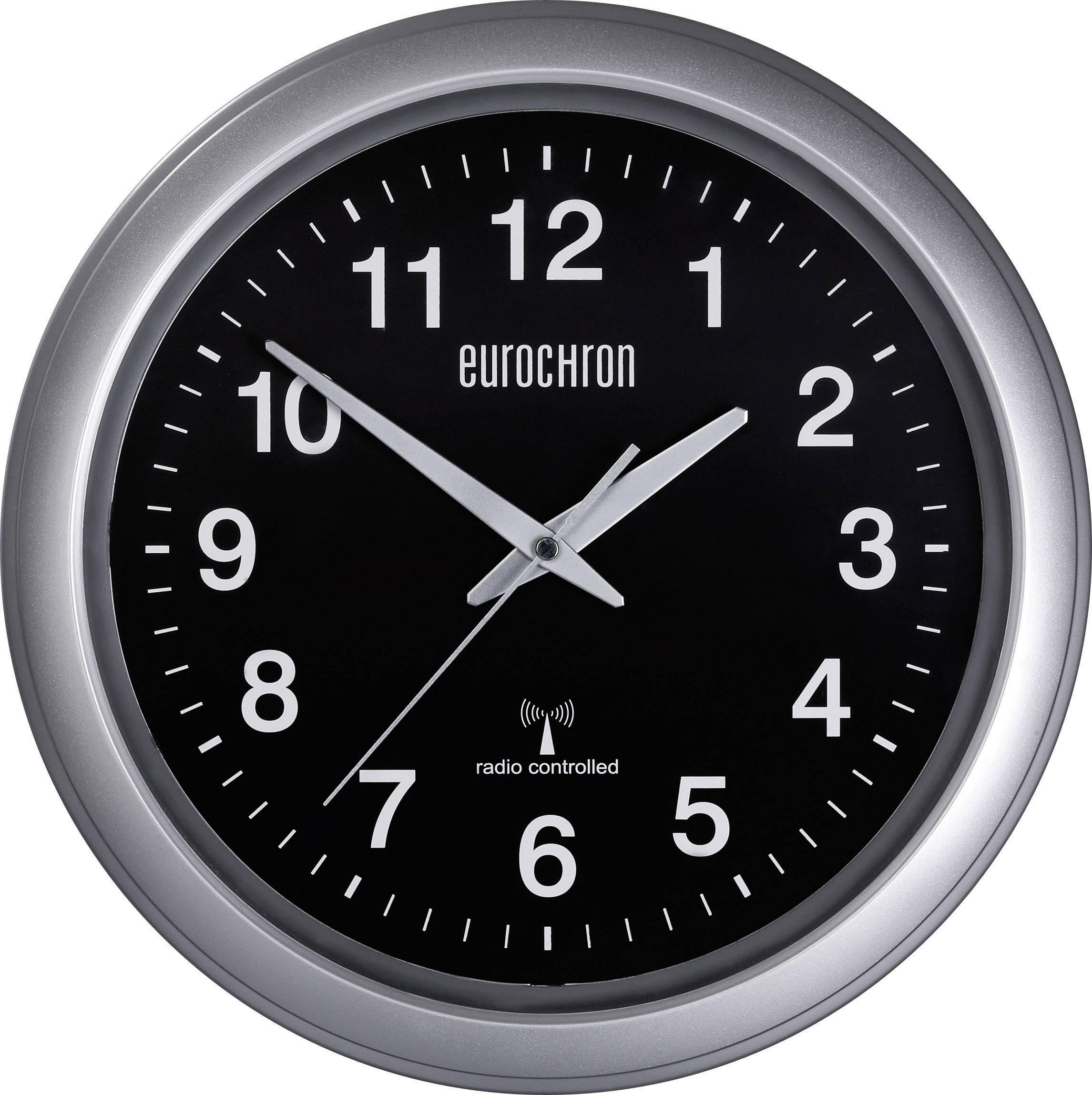 Analogové DCF nástěnné hodiny Eurochron EFWU 4601, Ø 325 x 45 mm, černá/stříbrná