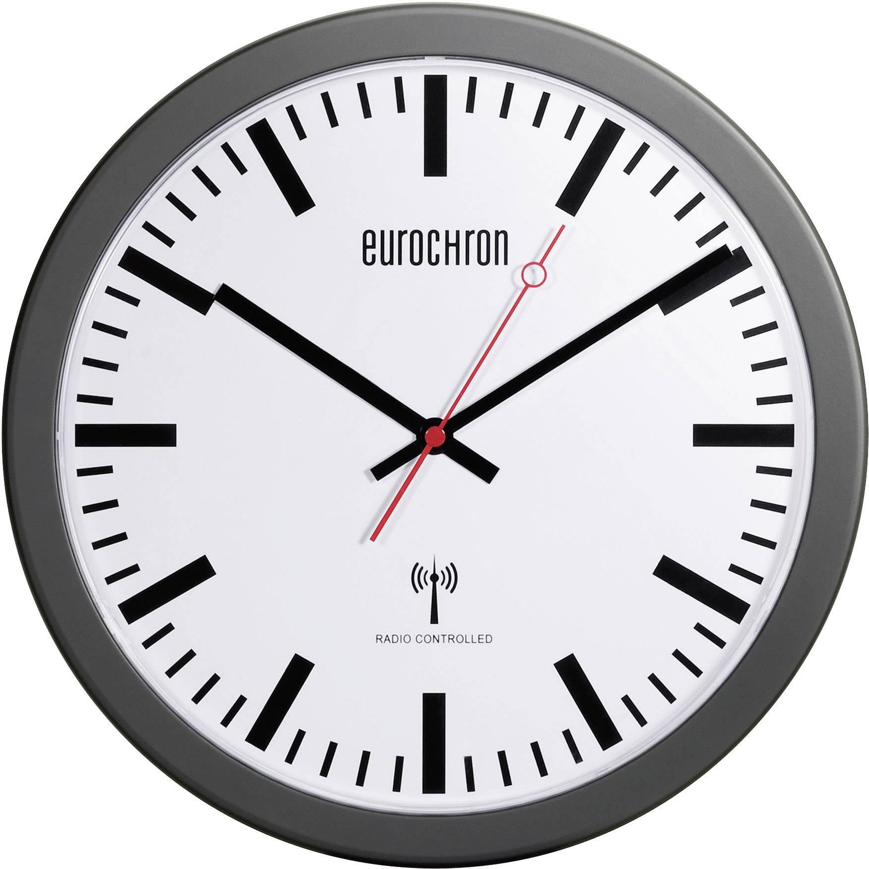 Železničné nástenné DCF hodiny Eurochron EFWU 3600, 30 cm, čierne