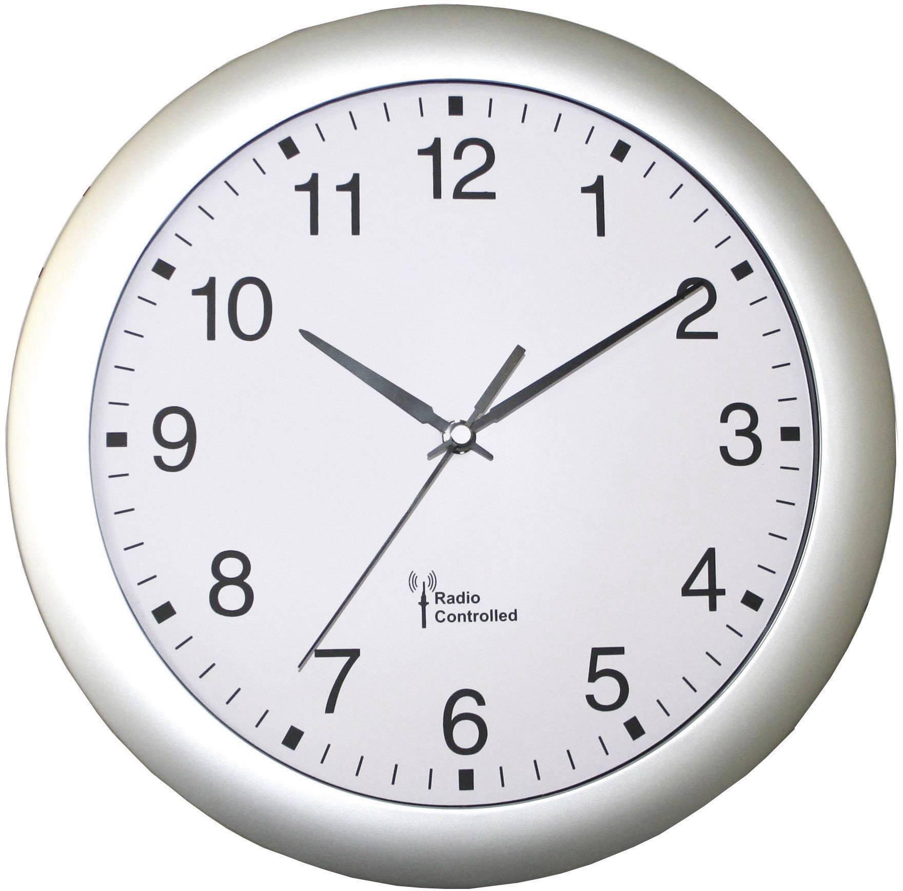 Analógové DCF nástenné hodiny, Ø 30 cm, strieborné