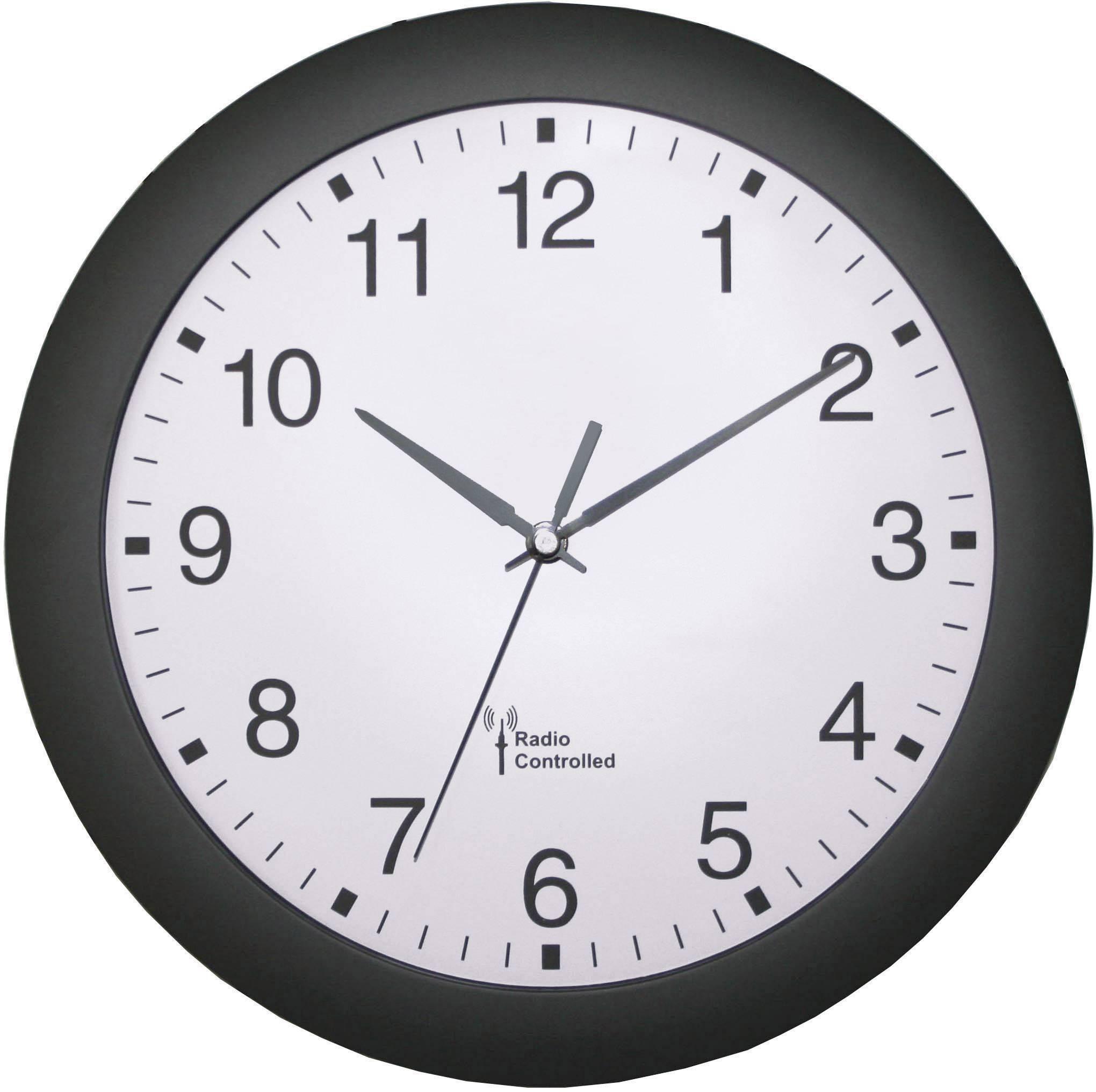 Tiché analógové nástenné DCF hodiny, Ø 30 cm, čierne