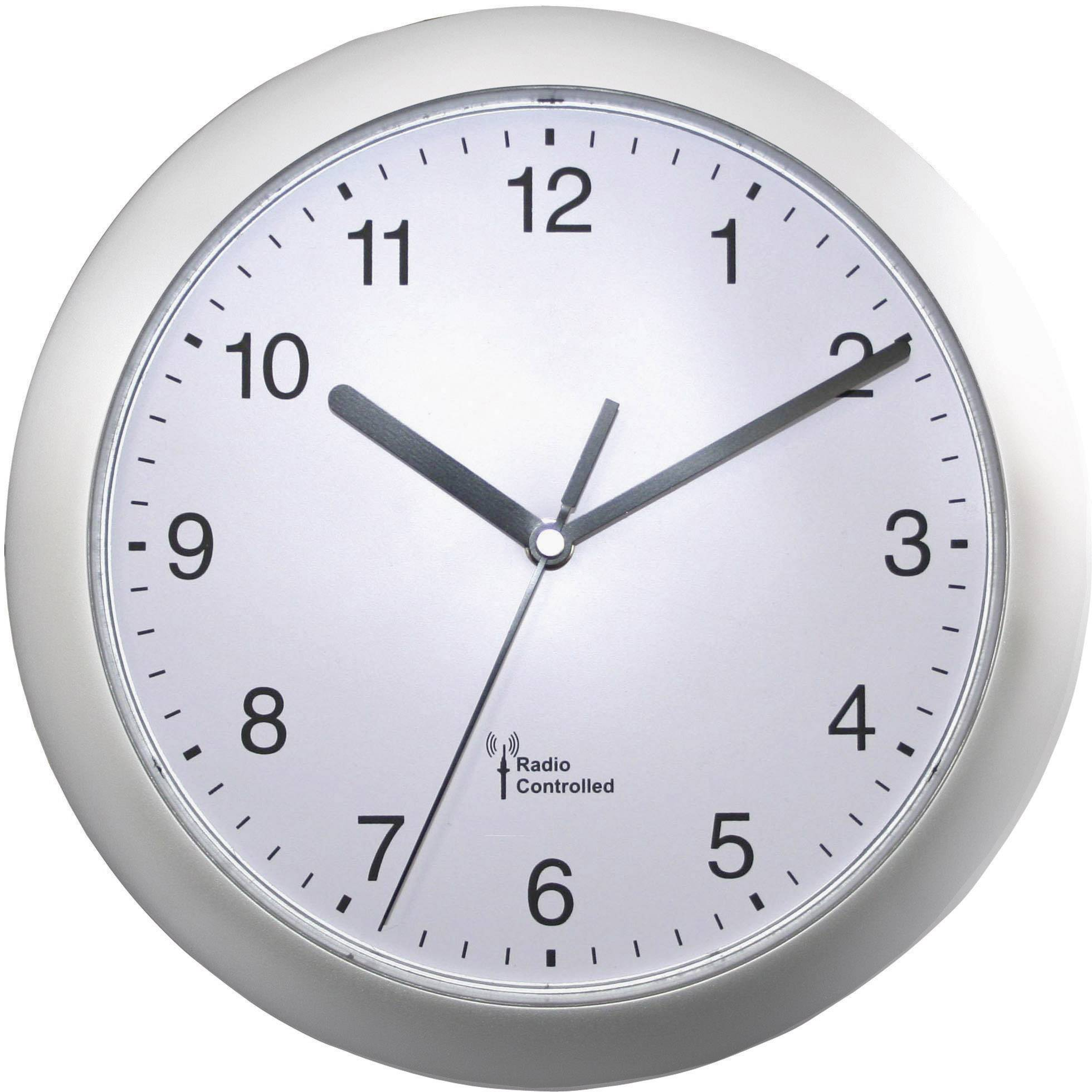 DCF nástěnné hodiny 56787, Vnější Ø 25 cm, stříbrná