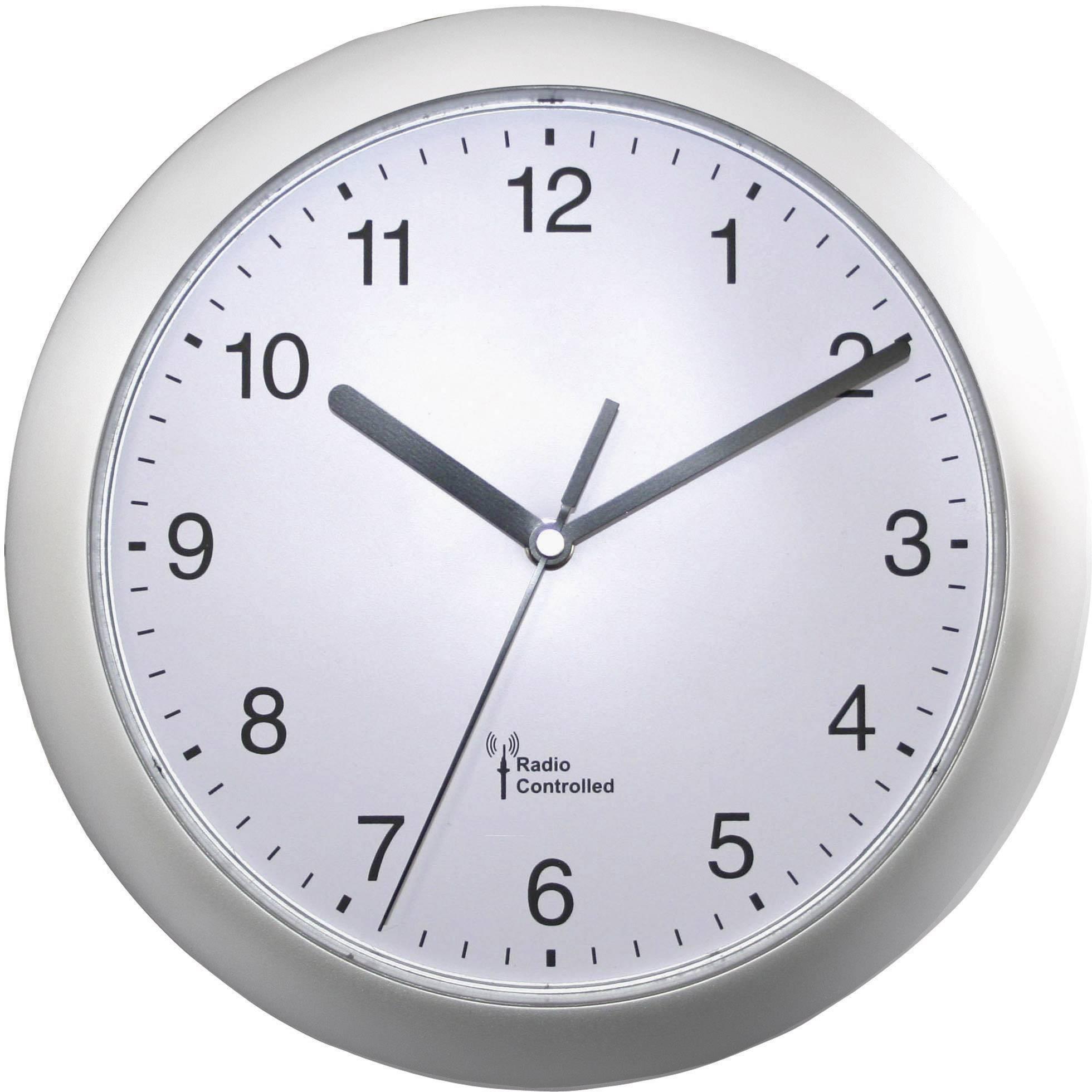 DCF nástenné hodiny 56787, Ø 25 cm, strieborná