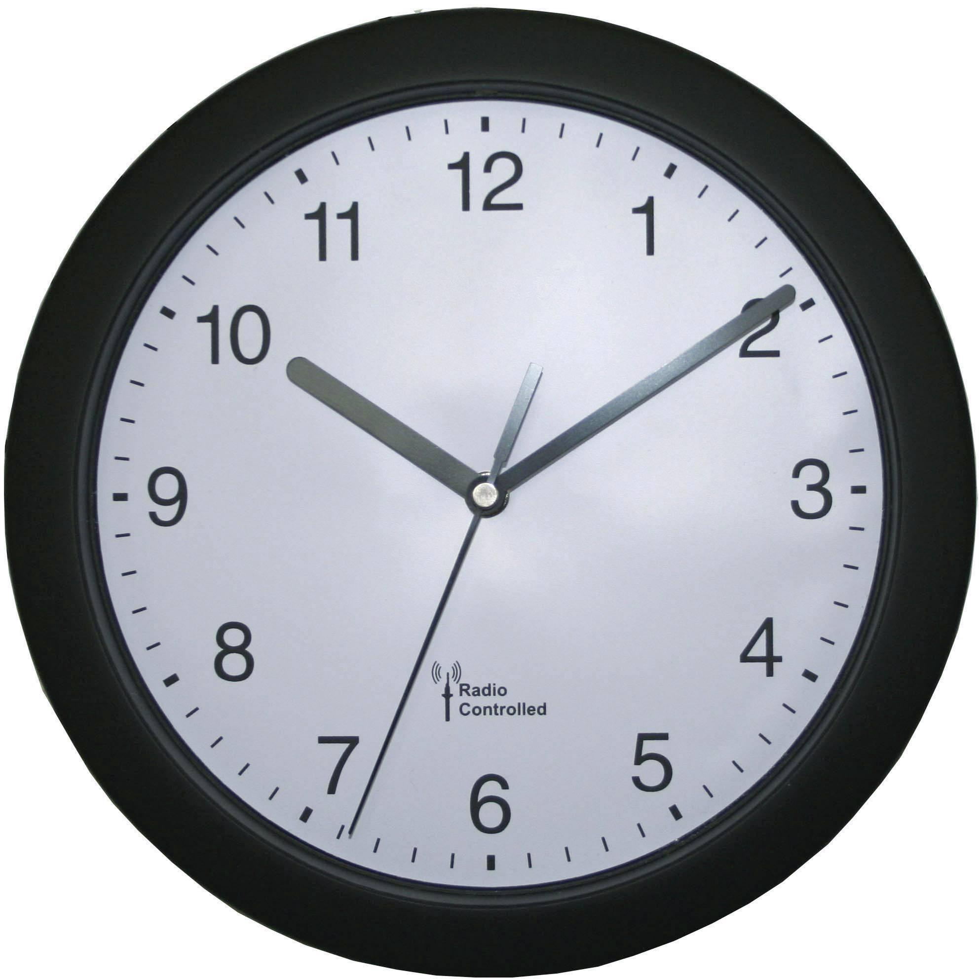 DCF nástenné hodiny 56785, Vonkajší Ø 25 cm, čierna