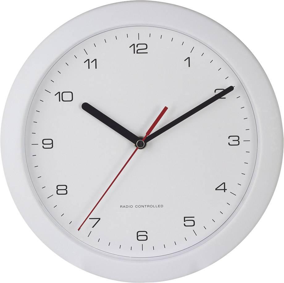 DCF nástenné hodiny 56786, Vonkajší Ø 25 cm, biela