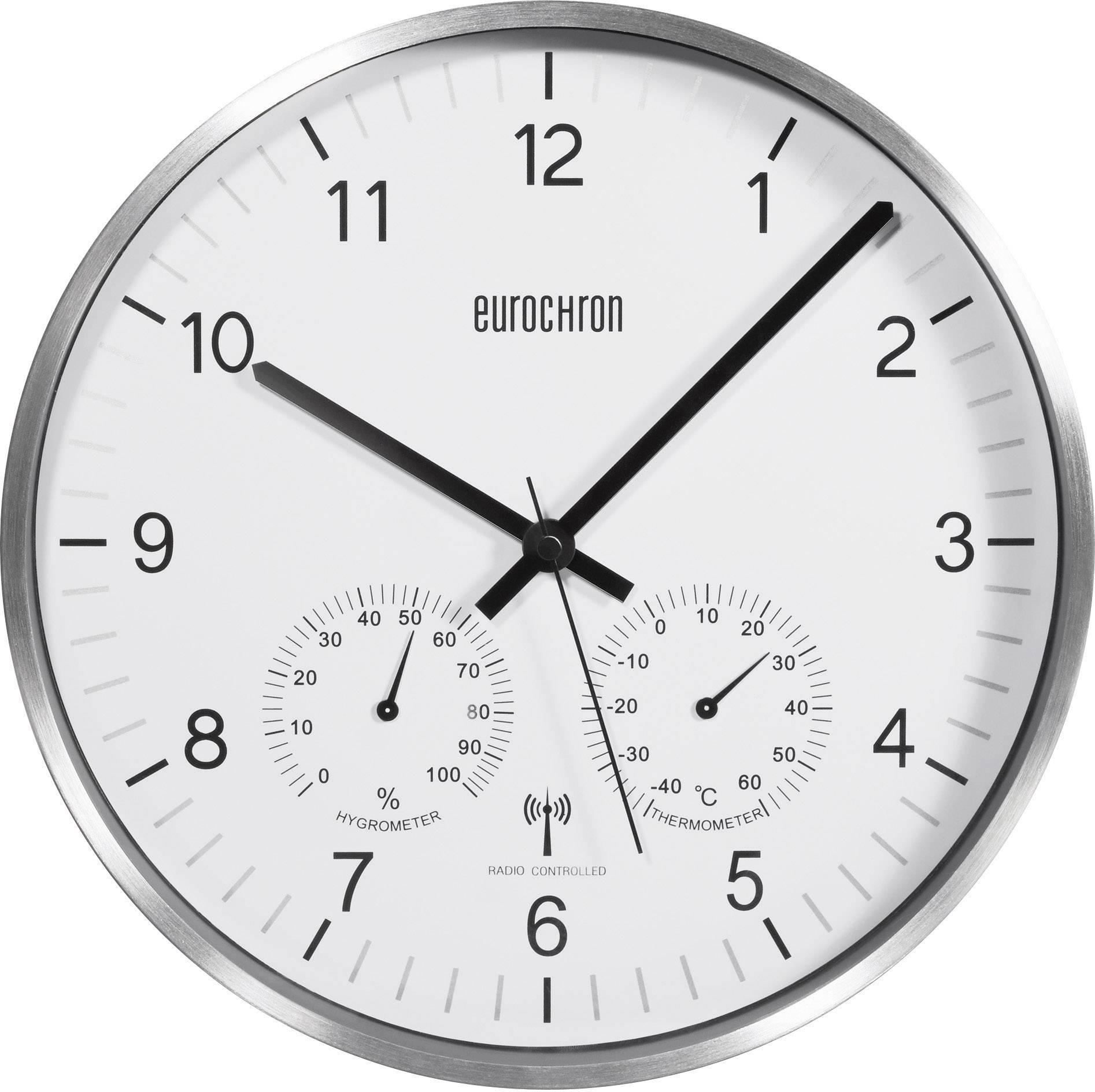 Analógové DCF hodiny s teplomerom a vlhkomerom EFWU 6400, 30,5 cm, strieborné