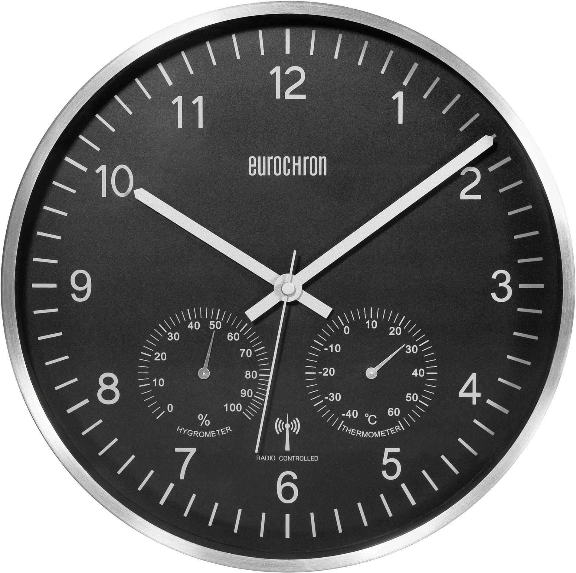Analogové DCF hodiny s teploměrem a vlhkoměrem Eurochron EFWU 6401, 30,5 cm, černá