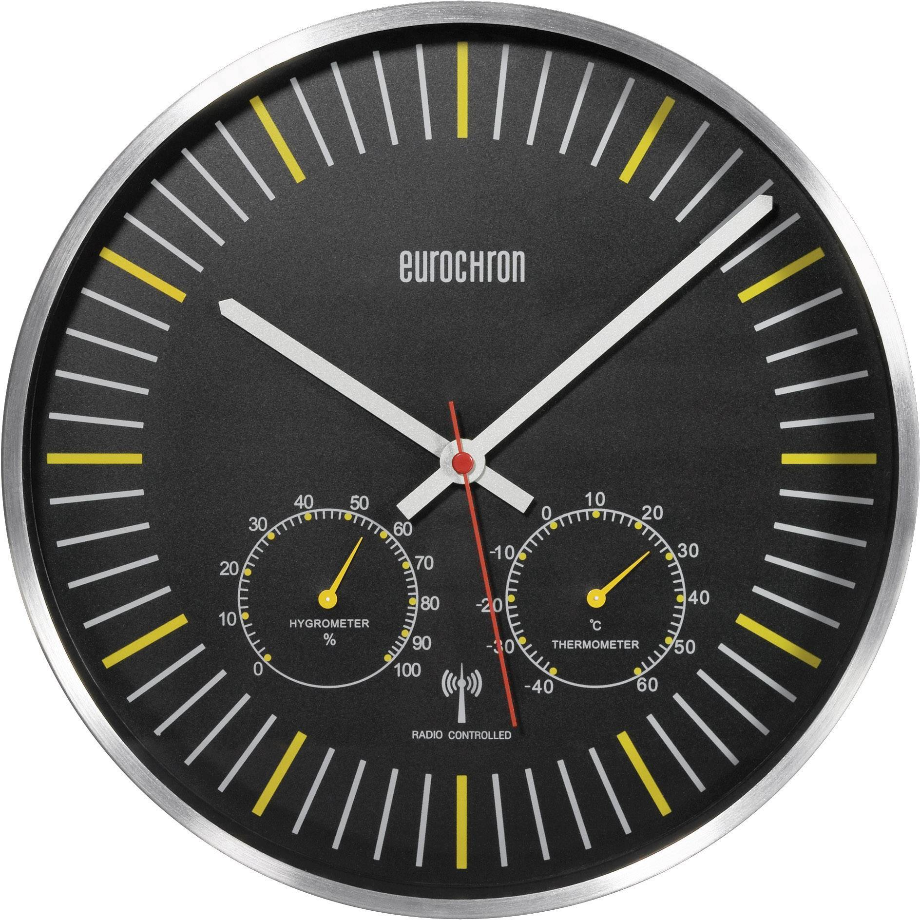 Analógové DCF hodiny s teplomerom a vlhkomerom EFWU 6402, 30,5 cm, čierna/žltá