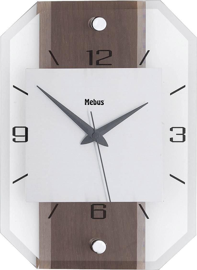 Analógové nástenné hodiny drevo/sklo/hliník, orech