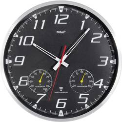 Analogové DCF nástěnné hodiny s teploměrem/vlhkoměrem, Ø 35 x 5 cm, hliník, černá