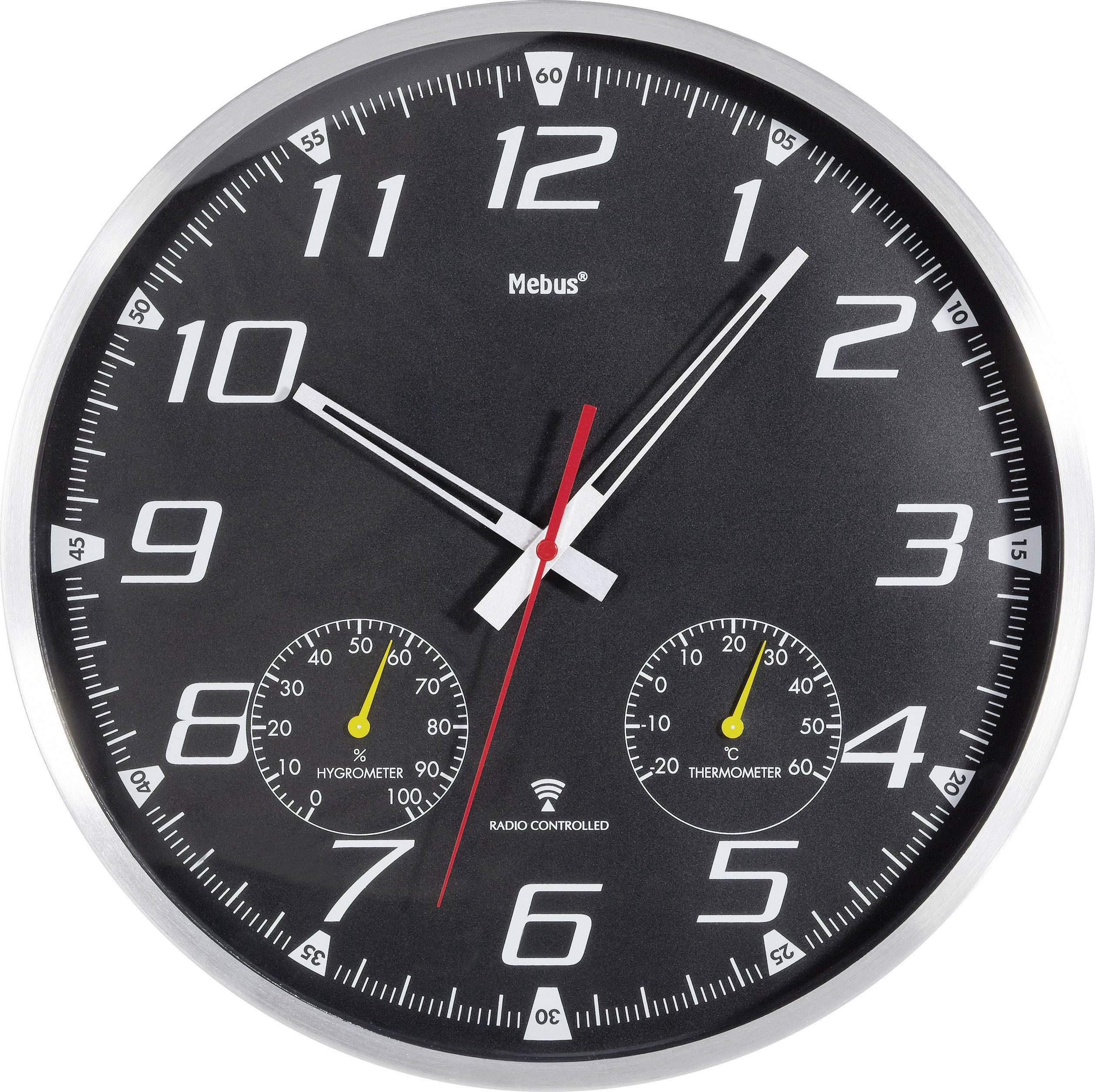 Nástenné DCF hodiny s teplomerom a vlhkomerom, 35 cm, hliník/čierna