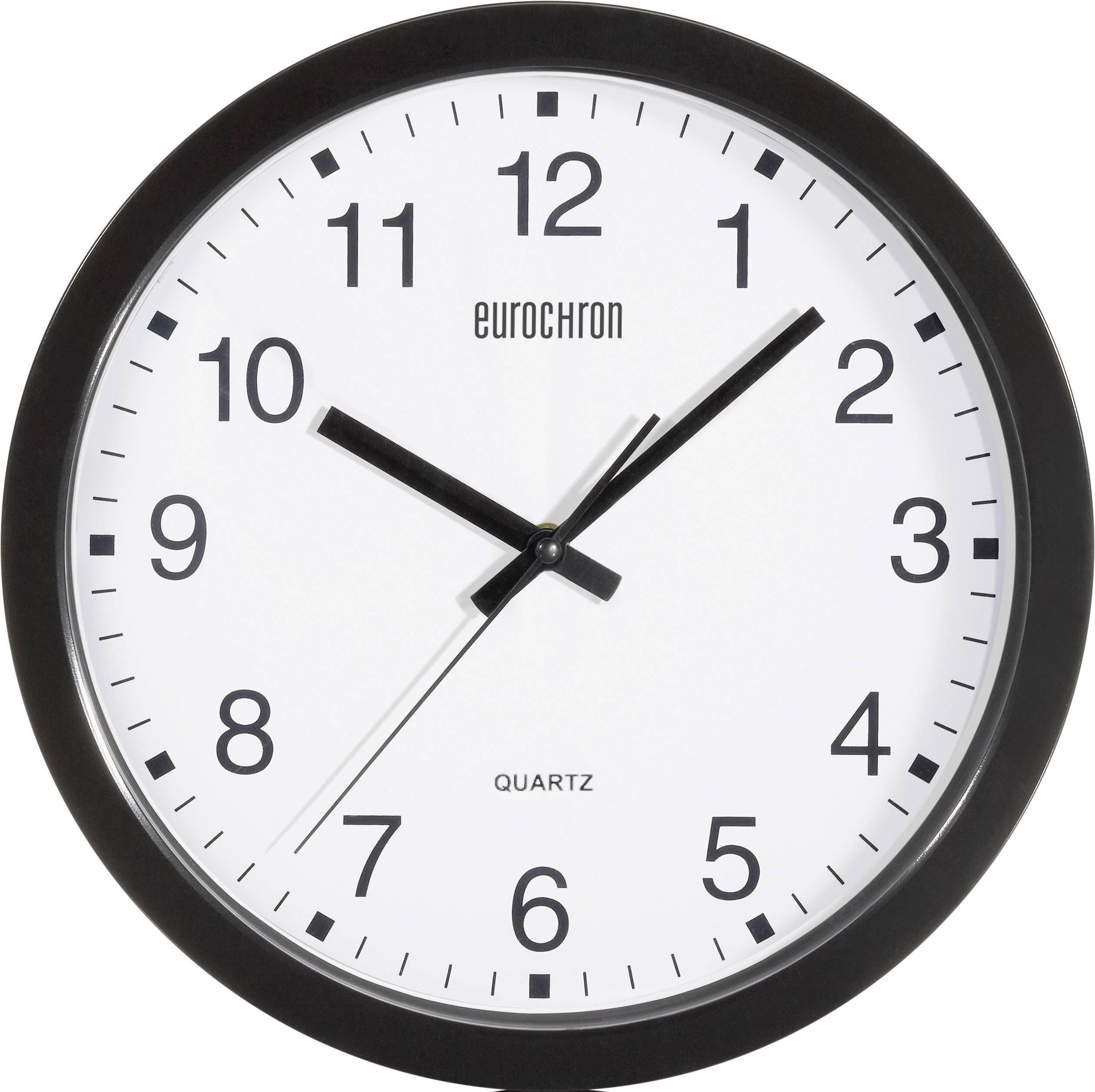 Analógové nástenné hodiny Eurochron EQWU 881, 30 cm, čierne