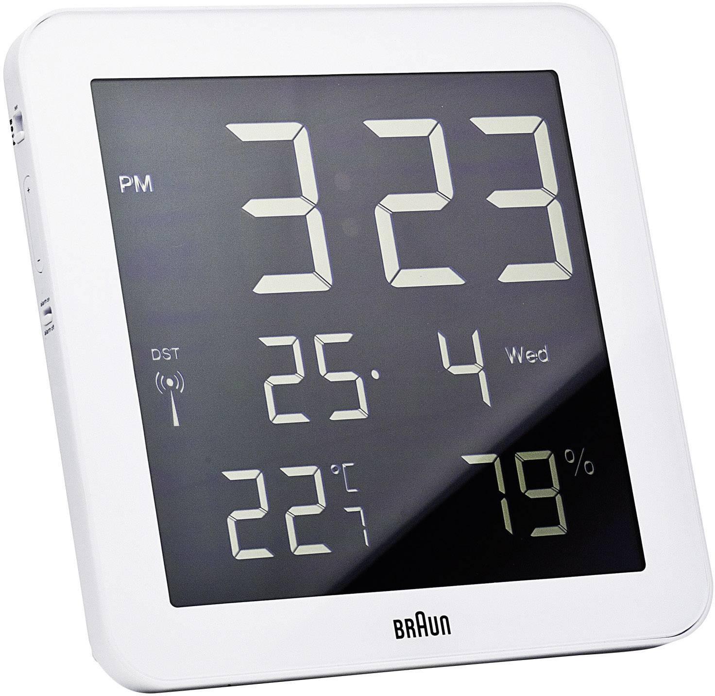 Digitálne nástenné DCF hodiny Braun, biele