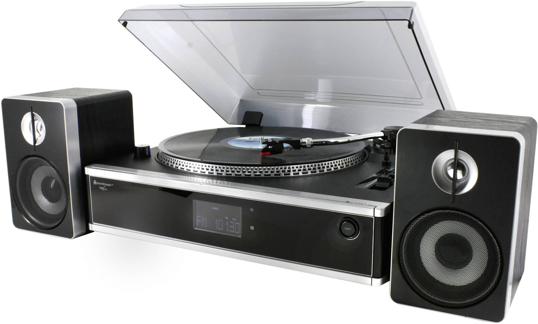 USB gramofon s CD/MP3 přehrávačem a reproduktory SoundMaster PL875, černá/stříbrná