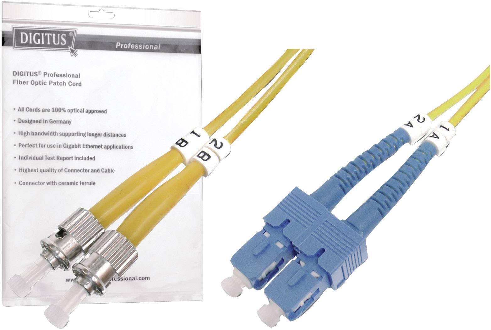 Optické vlákno kabel Digitus Professional DK-2912-03 [1x ST zástrčka - 1x zástrčka SC], 3 m, žlutá