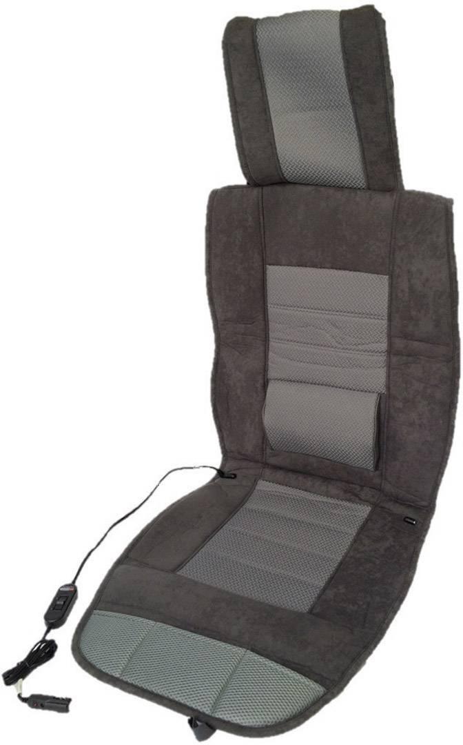 Vyhrievaný poťah na sedadlo Profi Power Carbon Luxus Sitzauflage Lendenwirbelstütze 2970021, 12 V, čierna, sivá