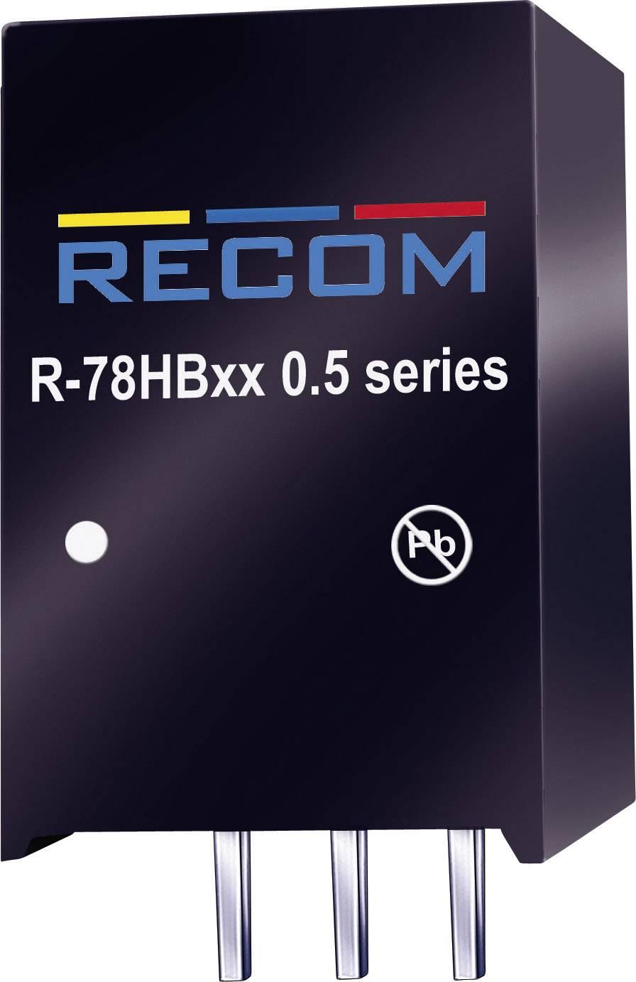 DC / DC menič napätia do auta RECOM R-78HB12-0.5, 48 V/DC, 12 V/DC, 0.5 A, 6 W, Počet výstupov 1 x