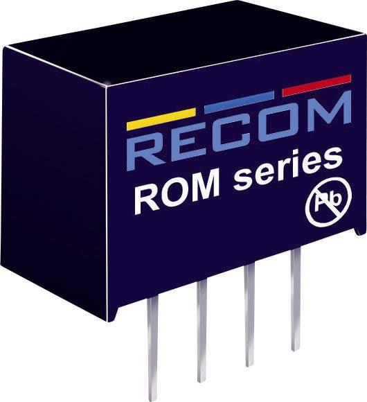 DC/DC měnič Recom ROM-0512S, vstup 5 V/DC, výstup 12 V/DC, 83 mA, 1 W