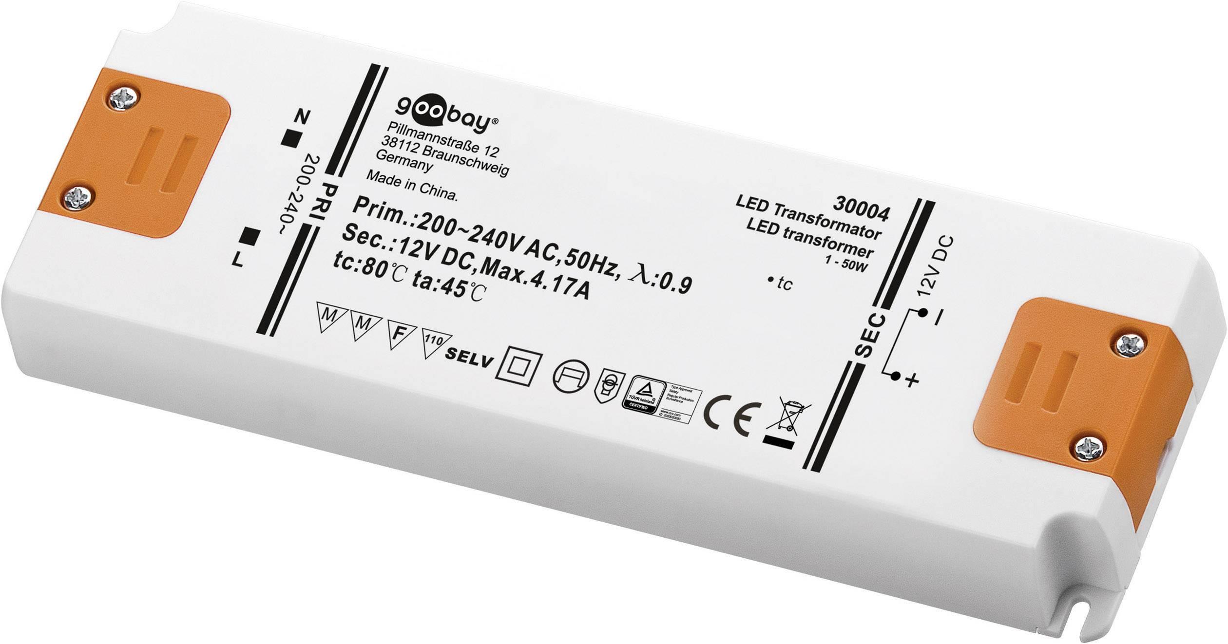 Napájací zdroj pre LED Goobay SET 12-50 LED slim, 50 W (max), 4.1 A, 12 V/DC
