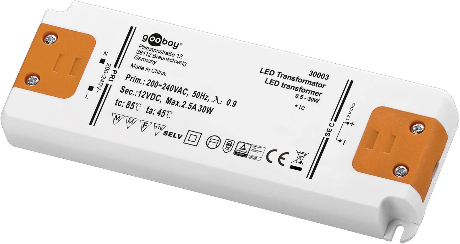 Napájací zdroj pre LED Goobay SET 12-30 LED slim, 30 W (max), 2.5 A, 12 V/DC