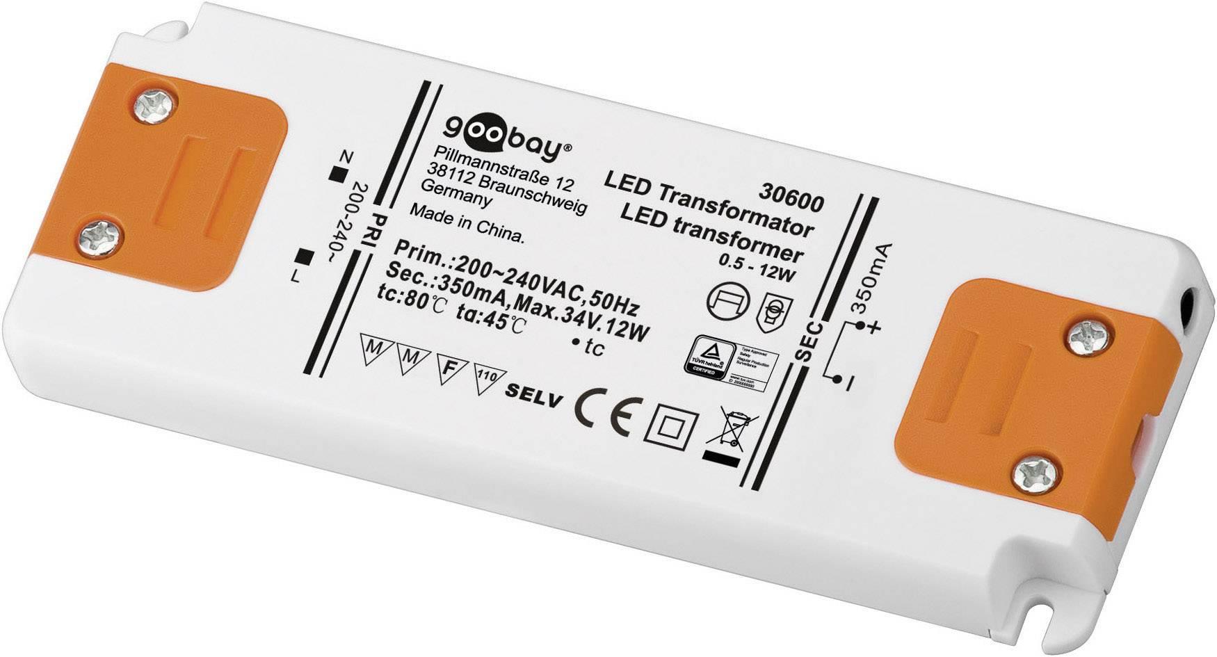 Vstavateľný LED driver Goobay SET CC 350-12 LED, 12 W (max), 0.35 A, 0 - 34 V/DC