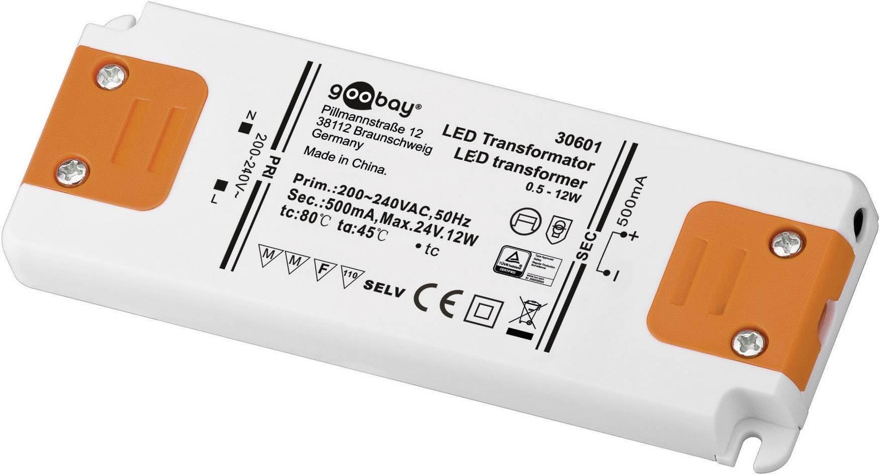 Vstavateľný LED driver Goobay SET CC 500-12 LED, 12 W (max), 0.5 A, 0 - 24 V/DC
